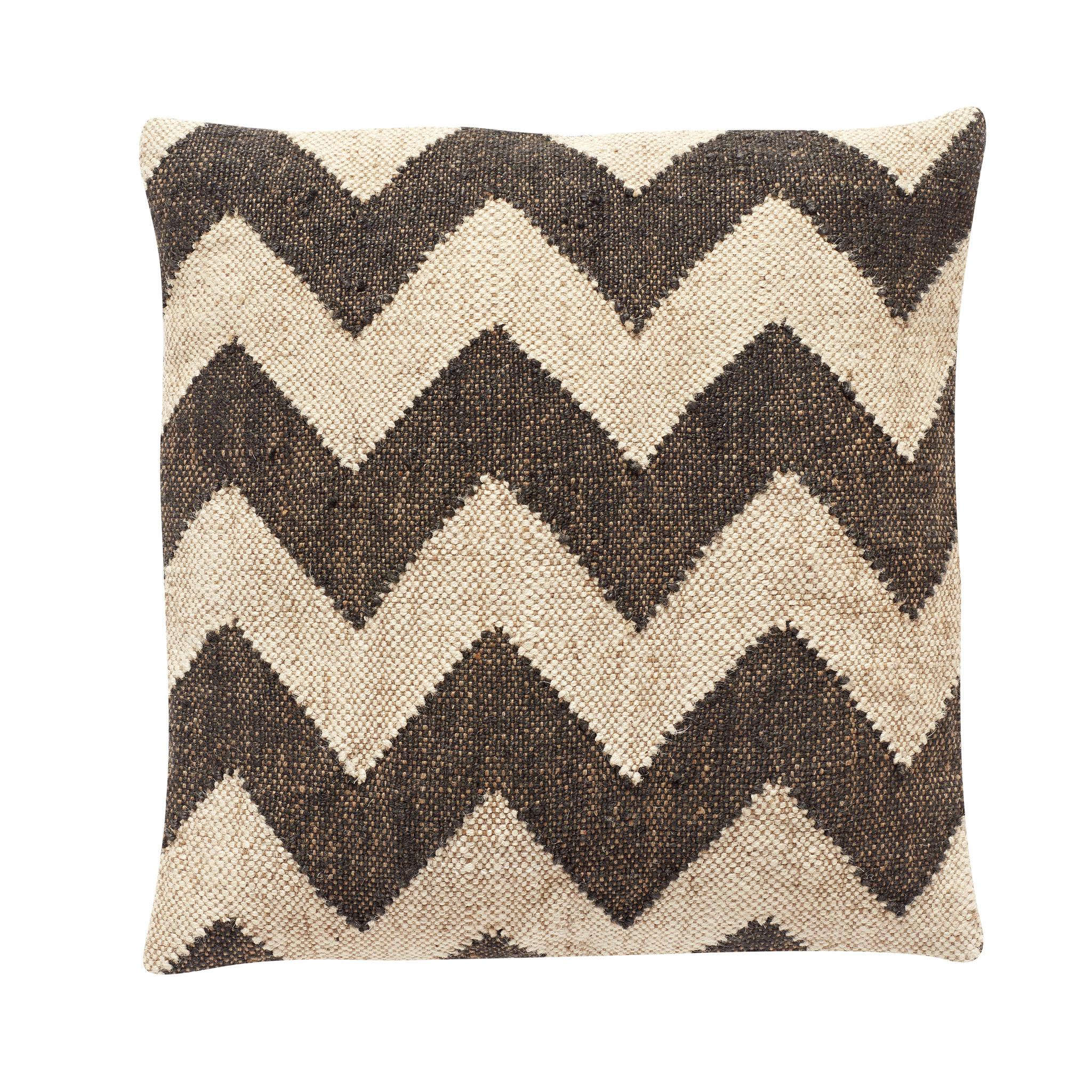 Hubsch Kussen met kelim patroon, wol / jute, zwart / beige-700204-5712772049785