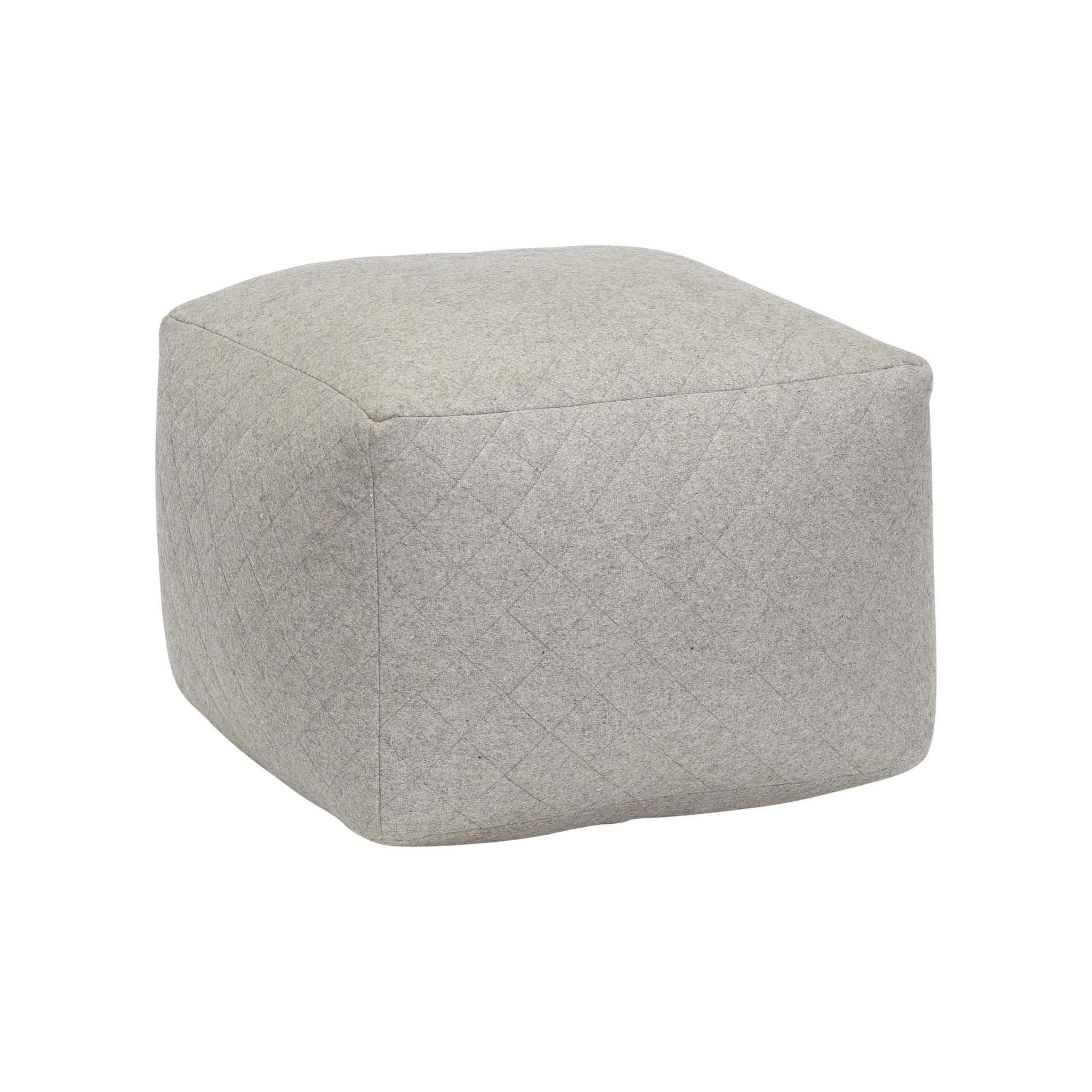 Hubsch Poef, vierkant, wol, grijs-700601-5712772051566