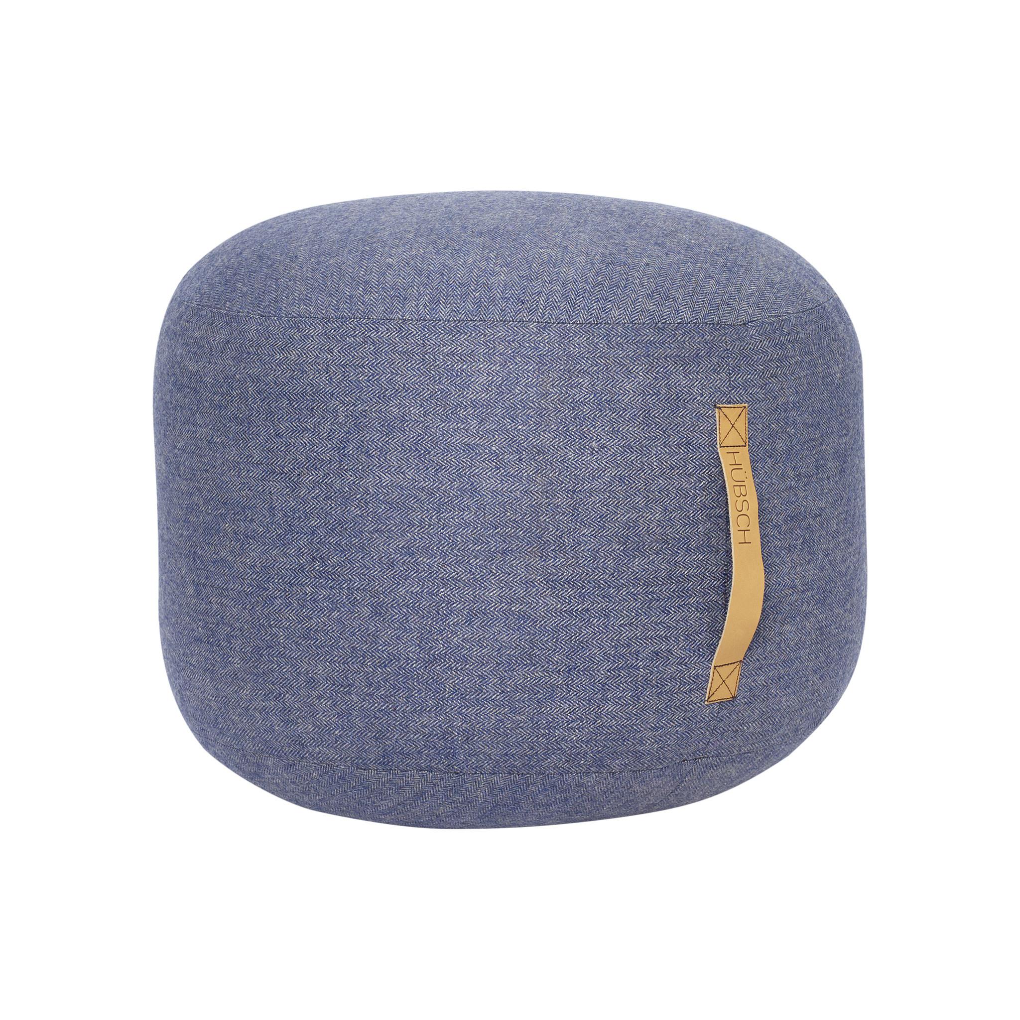 Hubsch Poef met lederen band, visgraat, wol, blauw-700802-5712772067758