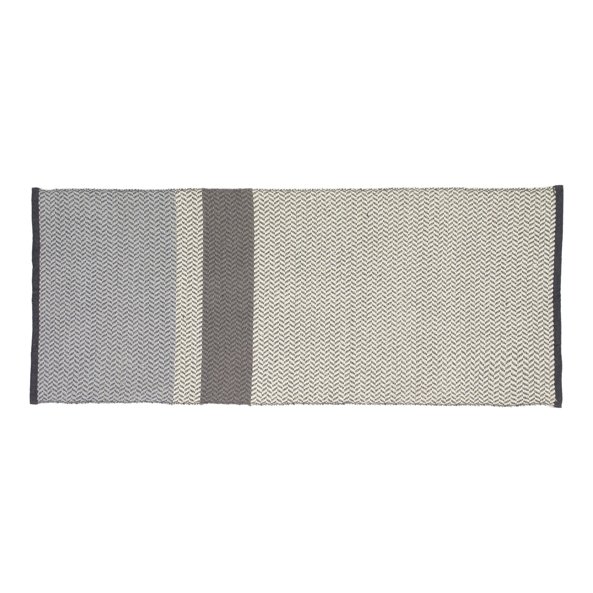 Hubsch Vloerkleed, geweven, katoen, blauw / grijset van wit