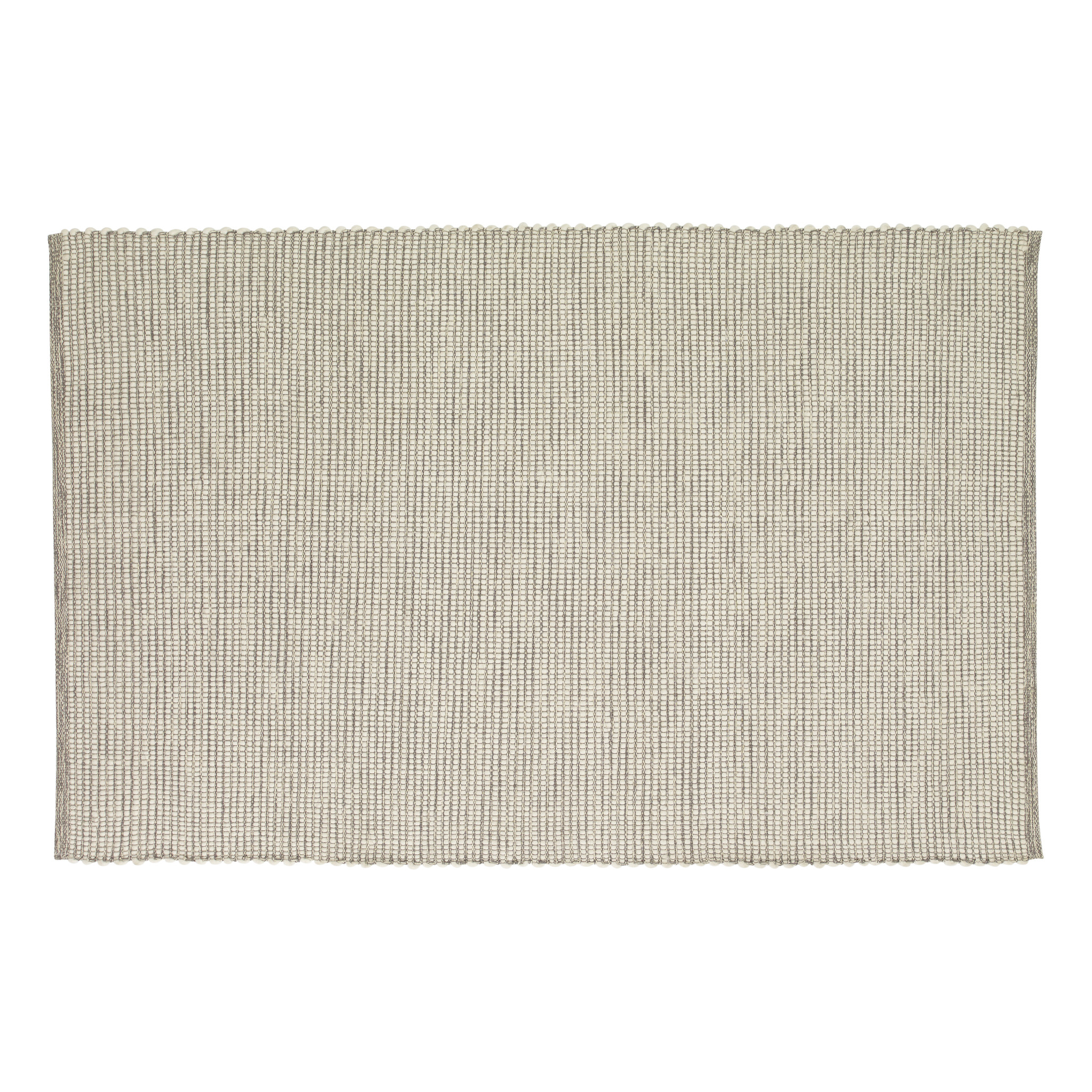 Hubsch Vloerkleed, geweven, katoen, grijset van wit