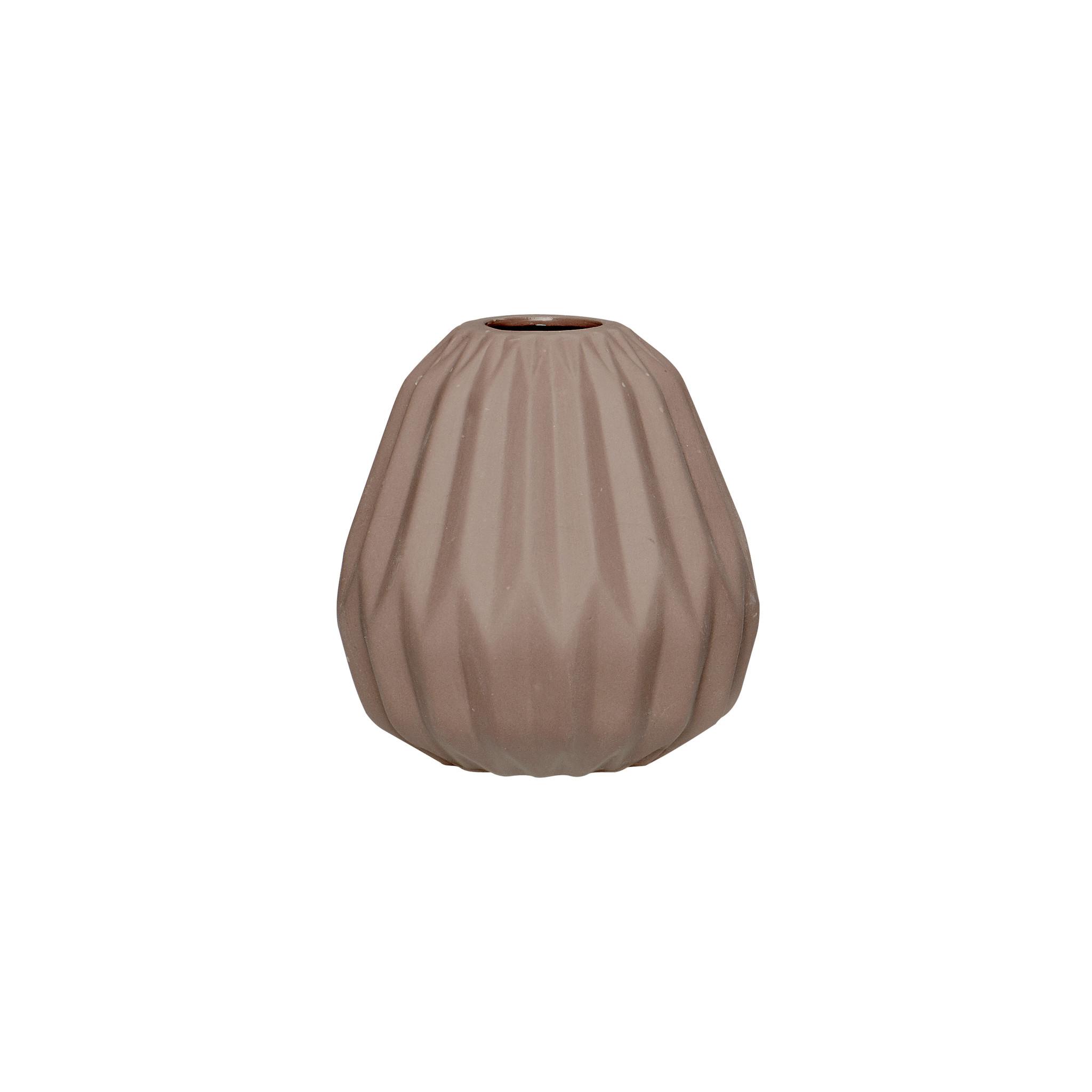 Hubsch Vaas met groeven, keramiek, bruin, klein