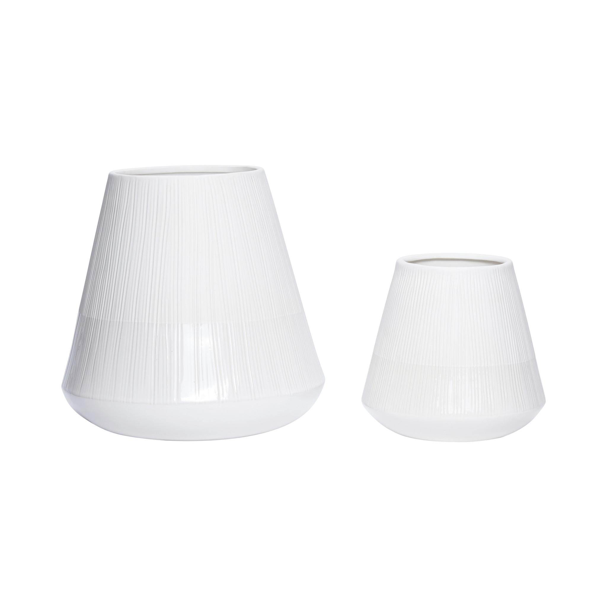 Hubsch Pot, keramiek, wit / beige, groot, set van 2-730302-5712772053744