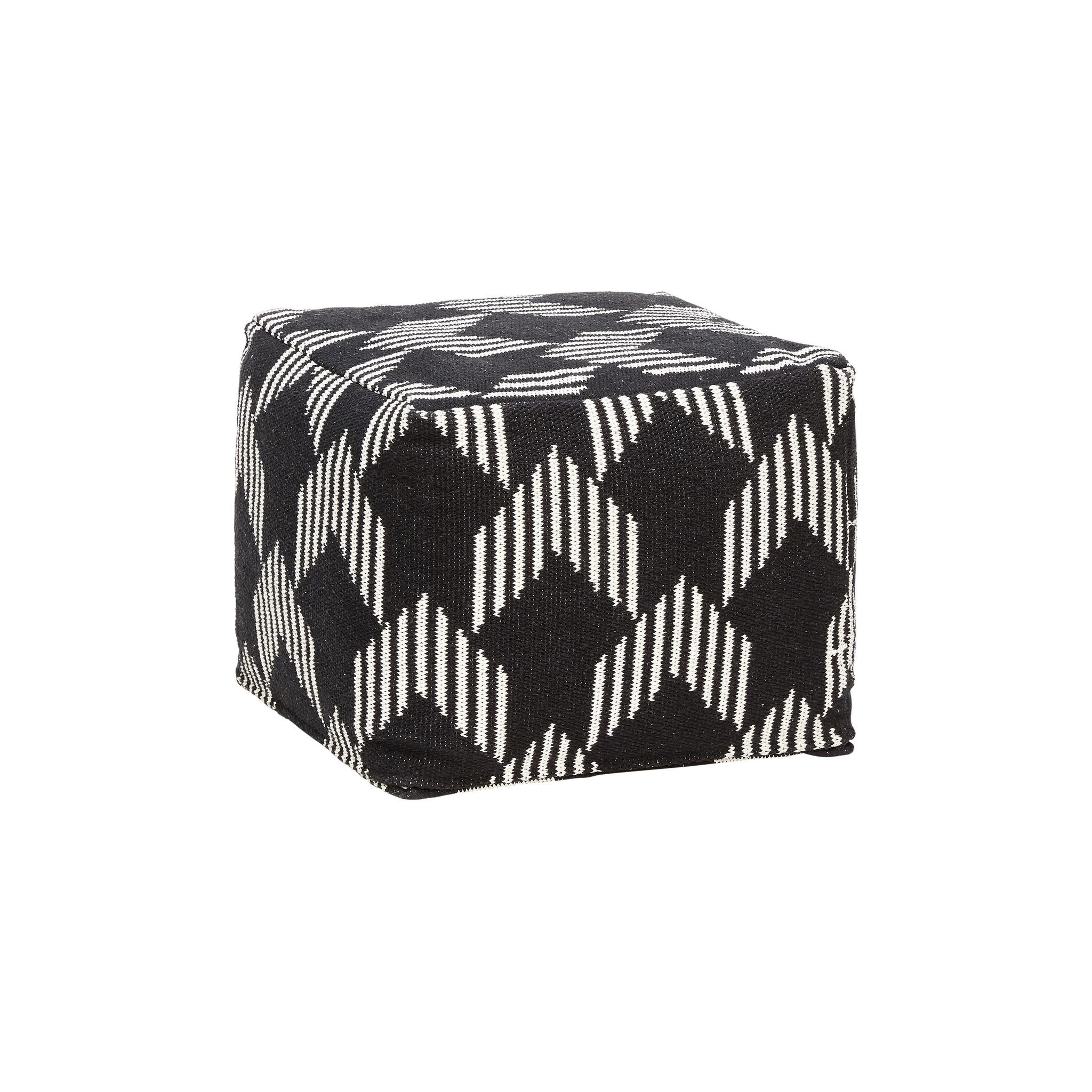 Hubsch Poef met patroon, vierkant, katoen, zwart / wit-740301-5712772053768