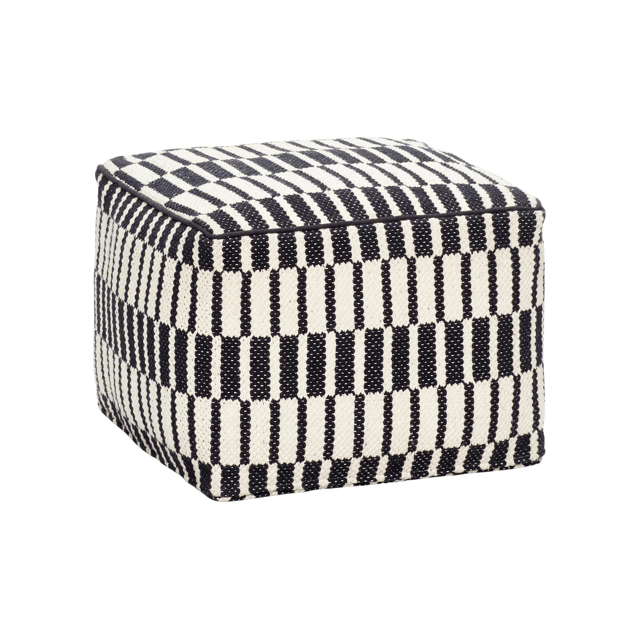 Hubsch Poef met patroon, vierkant, katoen, zwart / wit