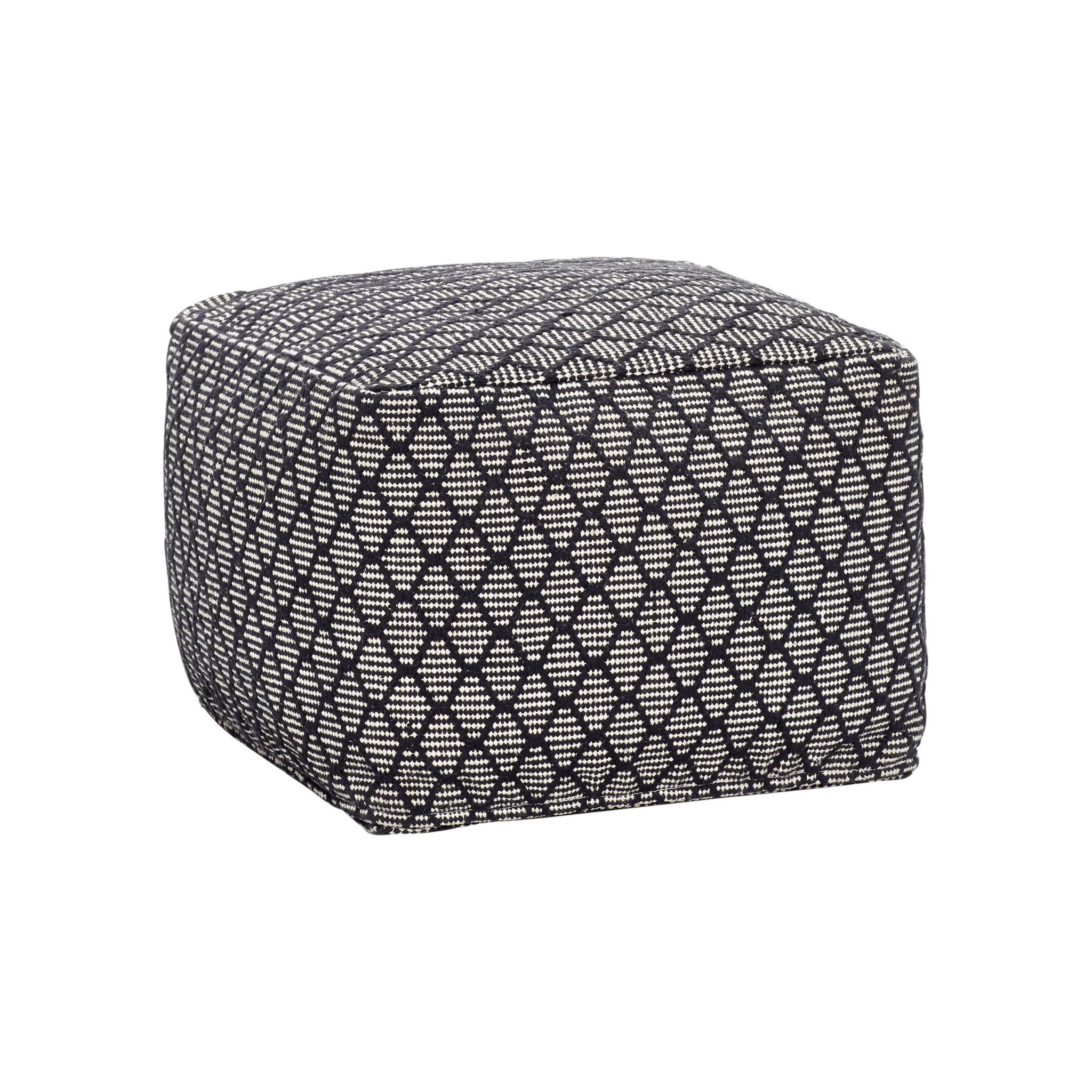 Hubsch Poef met patroon, vierkant, katoen, zwart / wit-740702-5712772067512