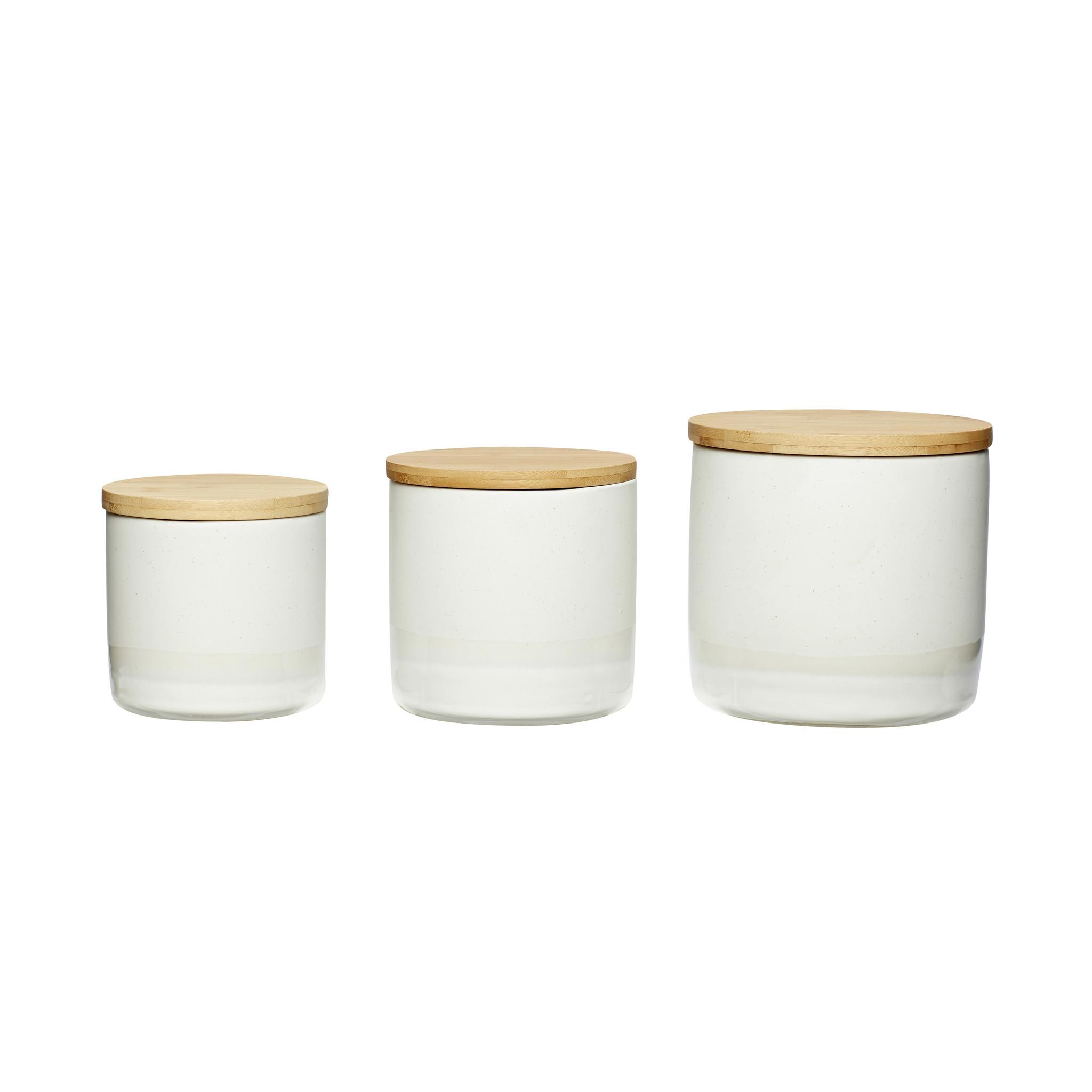 Hubsch Voorraadpot met houten deksel, keramiek, wit / natuur, set van 3-760212-5712772052372