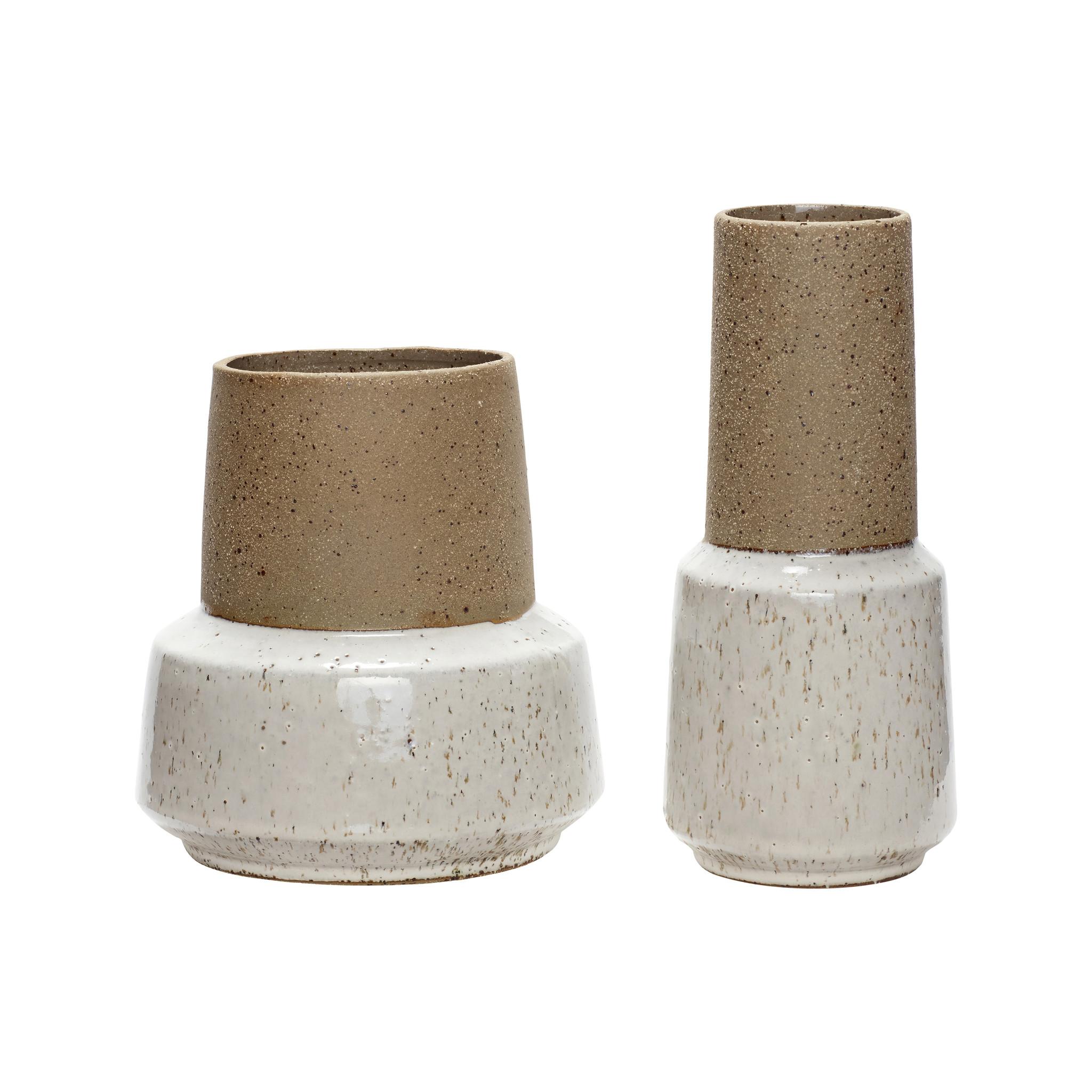 Hubsch Vaas, keramiek, zand / wit, set van 2-760403-5712772052433