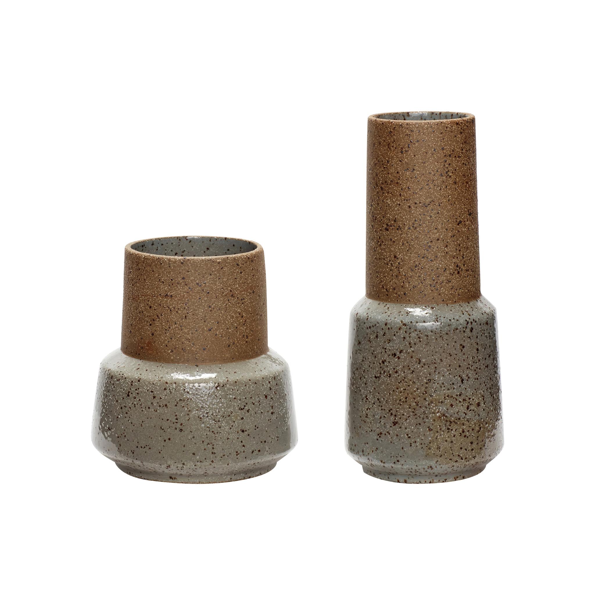 Hubsch Vaas, keramiek, zand / groen, set van 2-760404-5712772059517