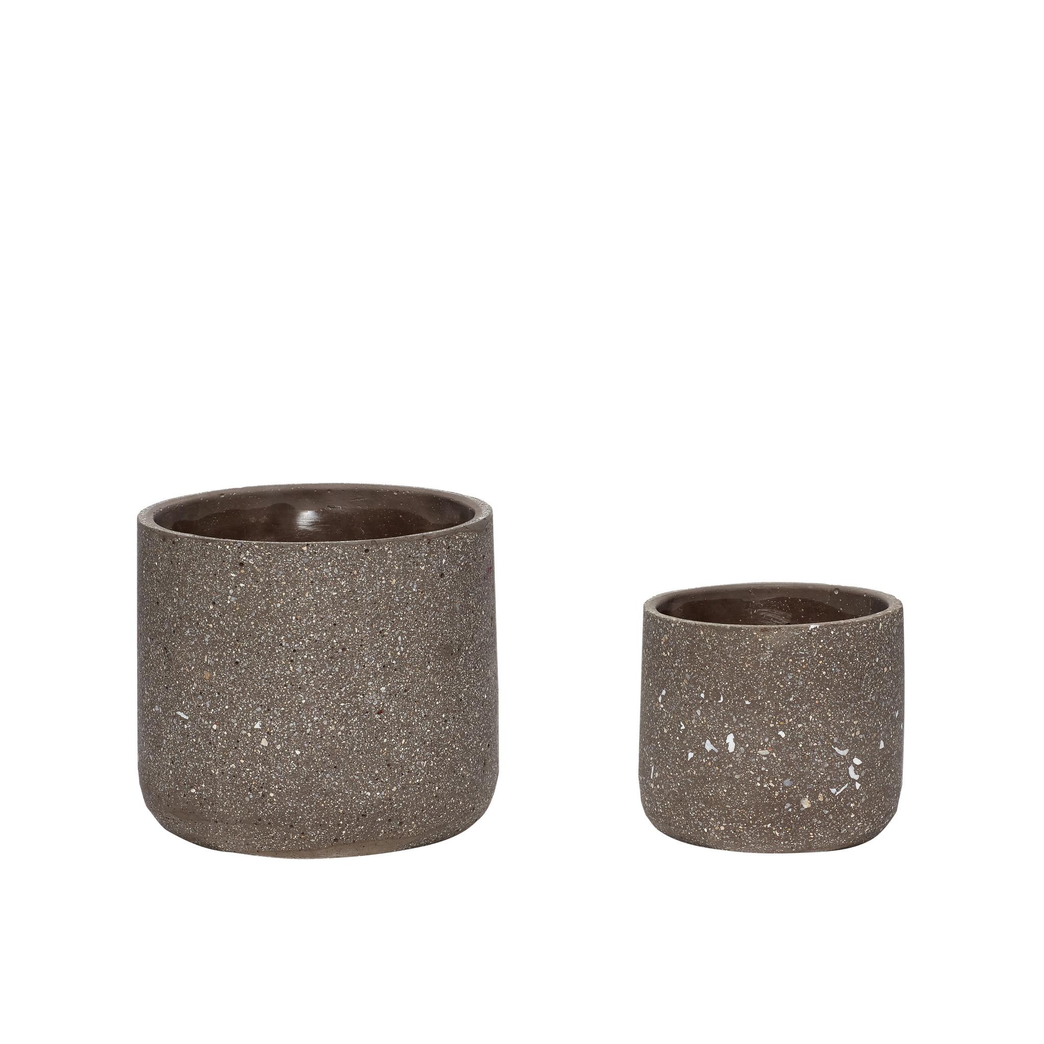 Hubsch Pot, beton, donkergrijs, set van 2-760501-5712772059524