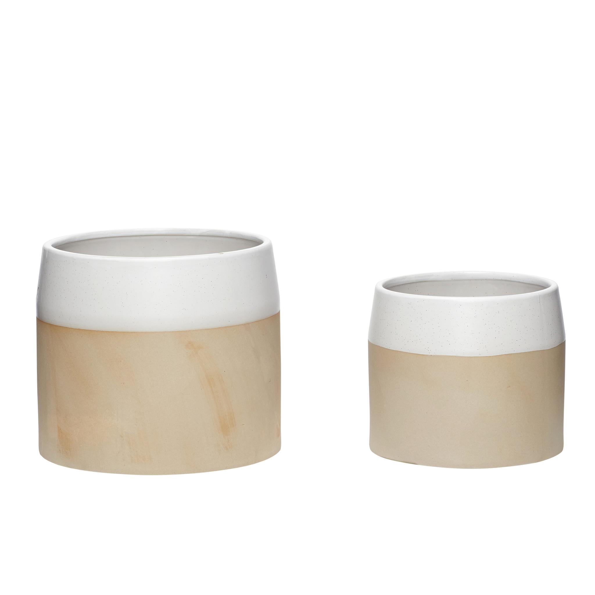 Hubsch Pot, keramiek, wit / zand, set van 2