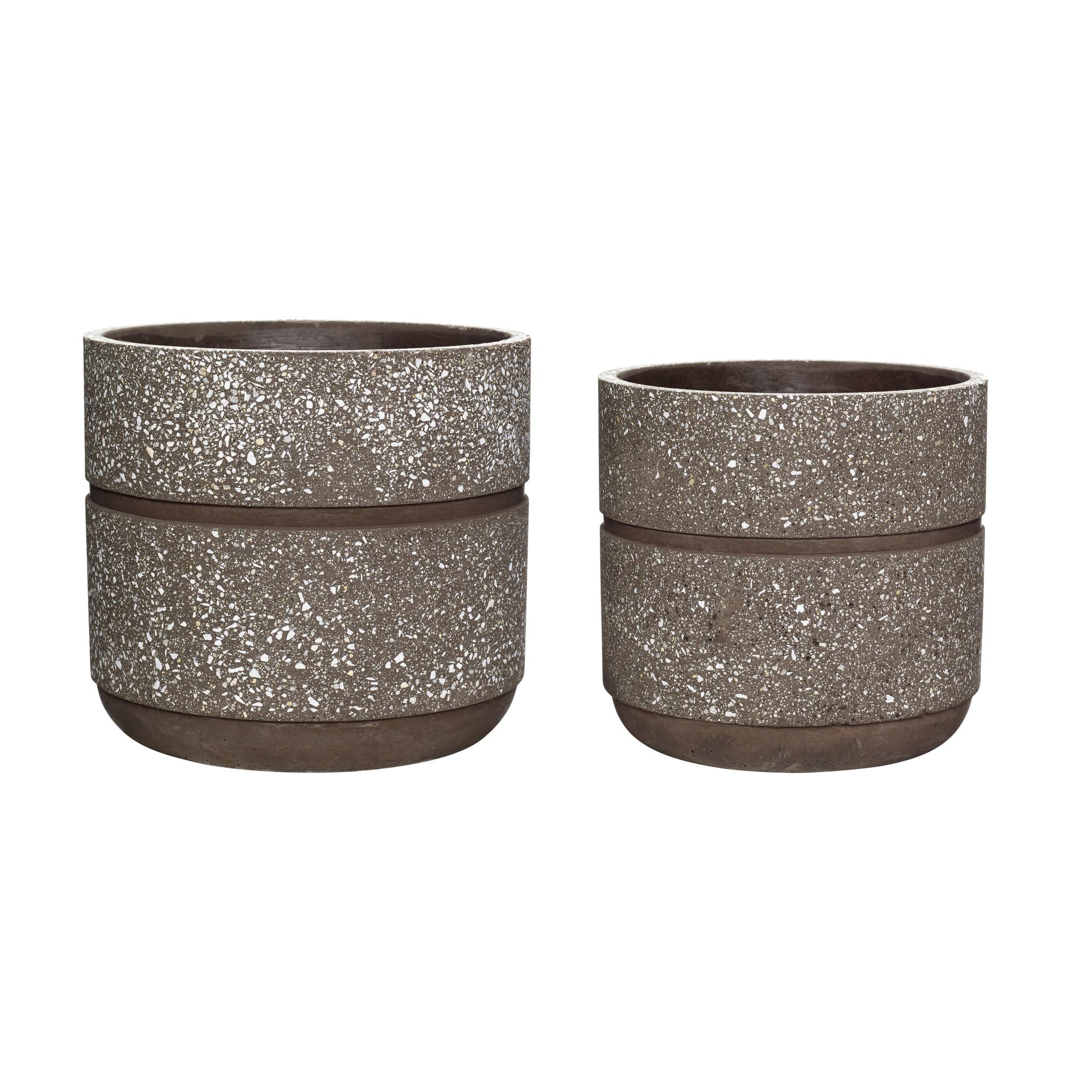 Hubsch Pot, beton, bordeaux, set van 2