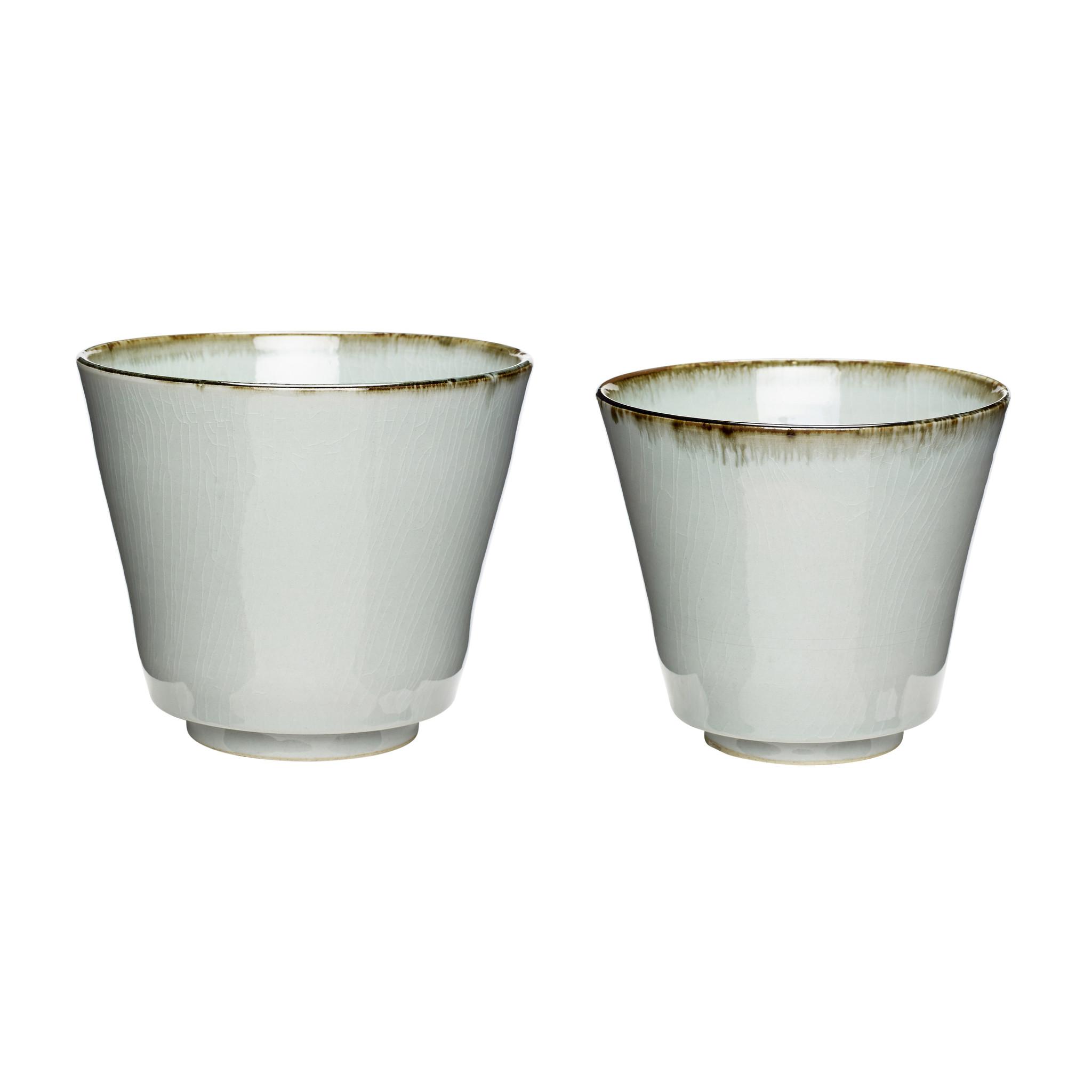 Hubsch Pot, keramiek, beige / wit, set van 2