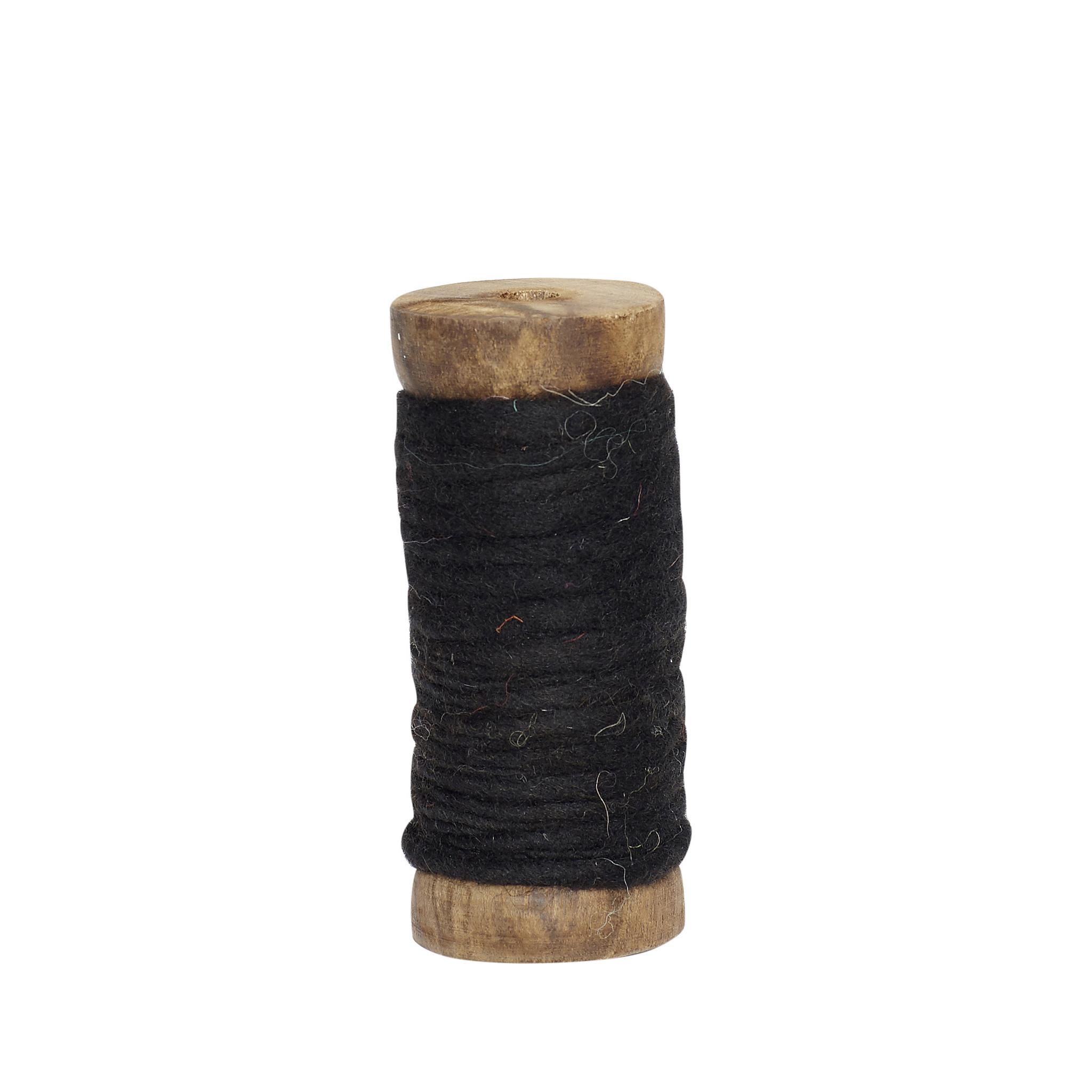 Hubsch Lint met houten spoel, wol, zwart