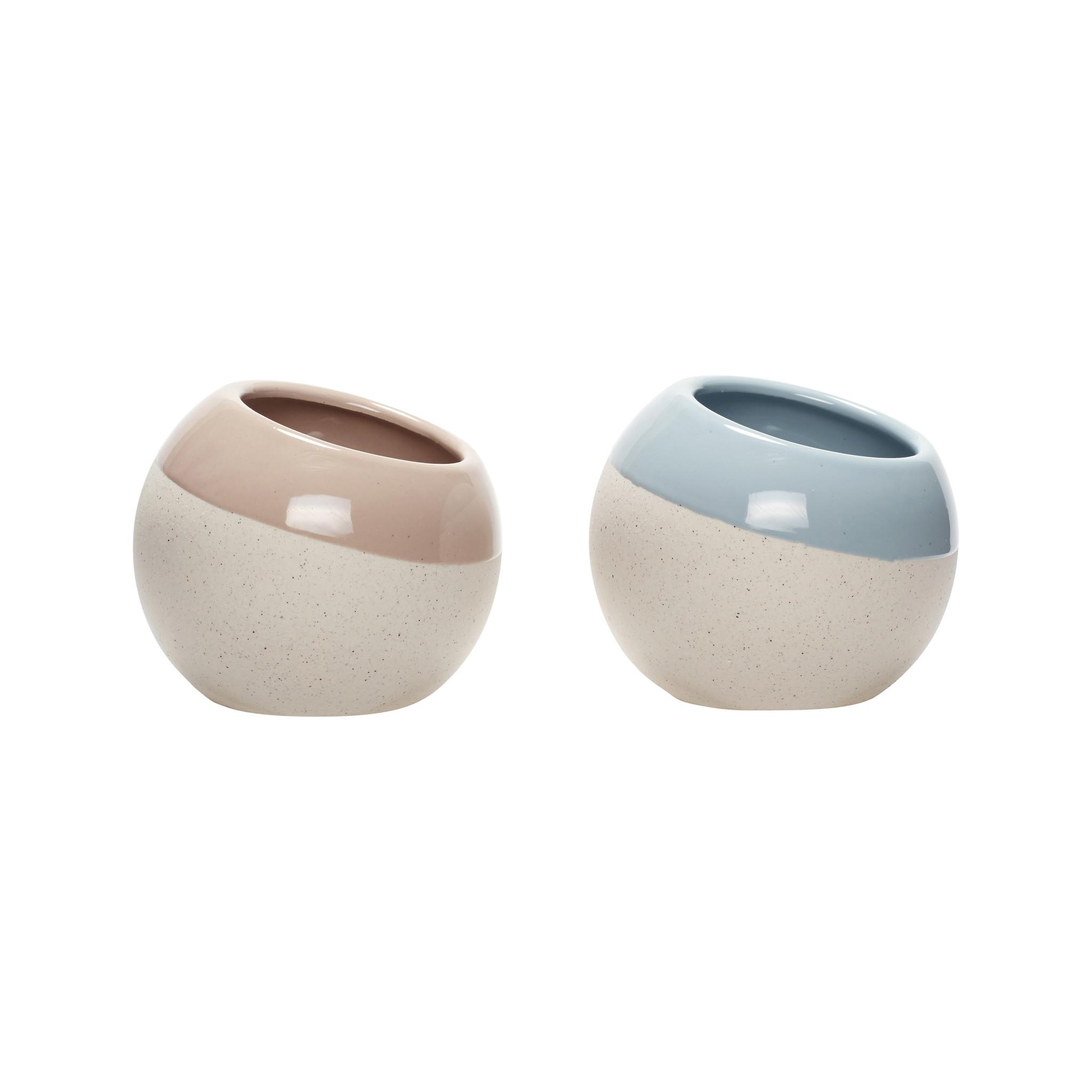 Hubsch Pot, keramiek, wit / lichtblauw / rose, set van 2