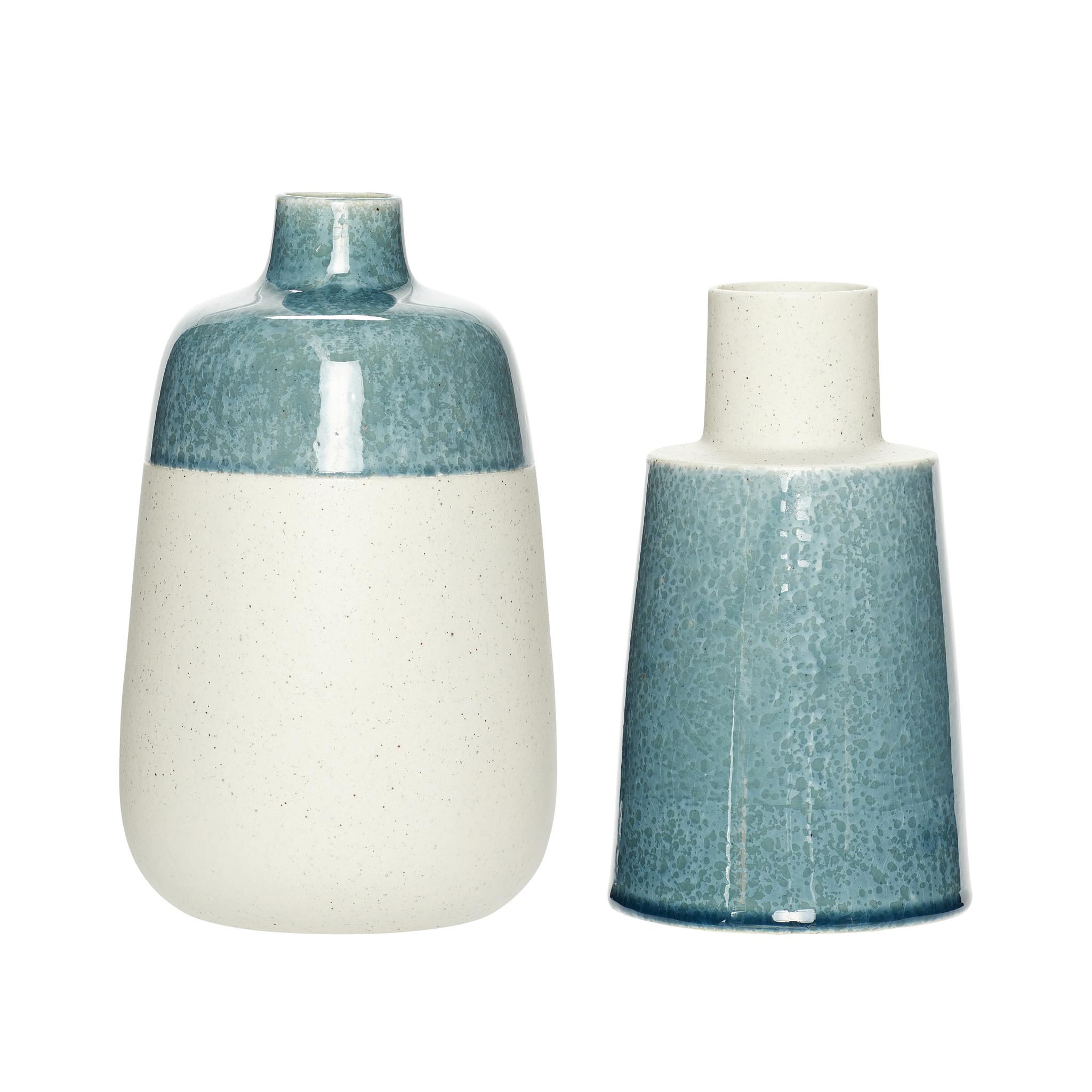 Hubsch Vaas, porselein, zand / blauw, set van 2-800501-5712772058435