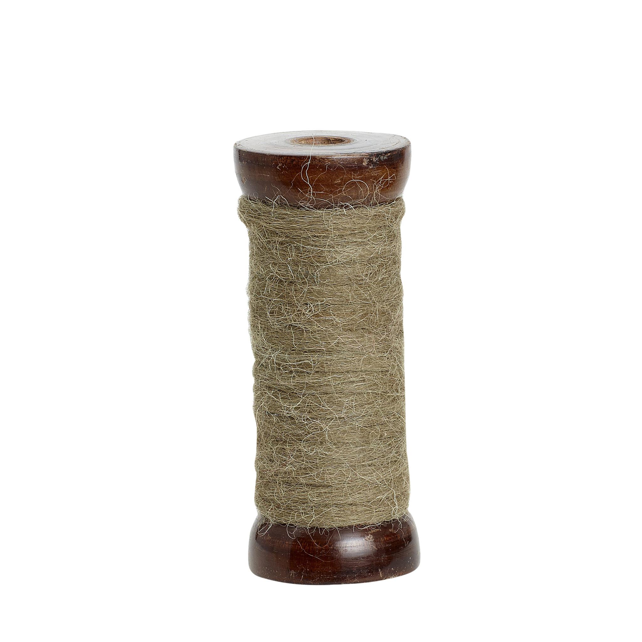 Hubsch Jute-snaar met houten spoel, olijfgroen