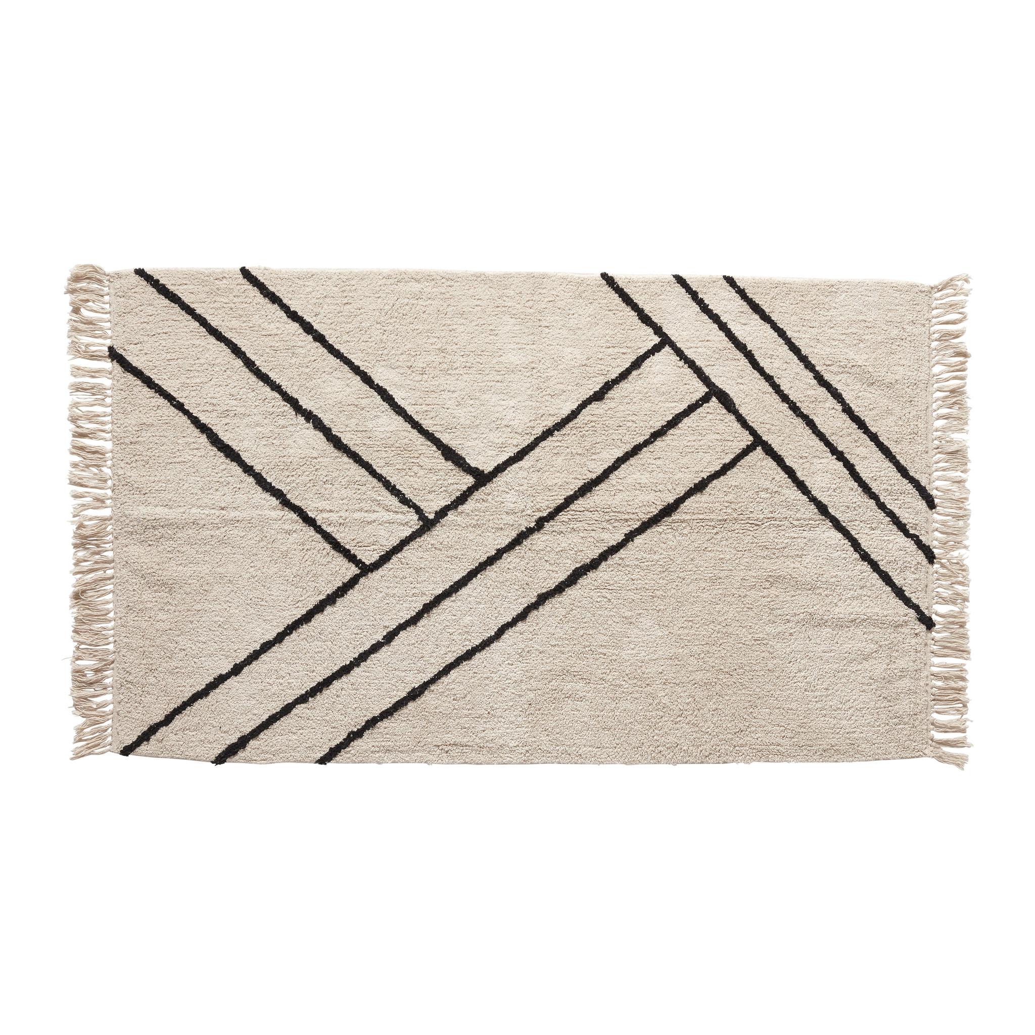 Hubsch Vloerkleed, katoen, wit / zwart-810601-5712772030561