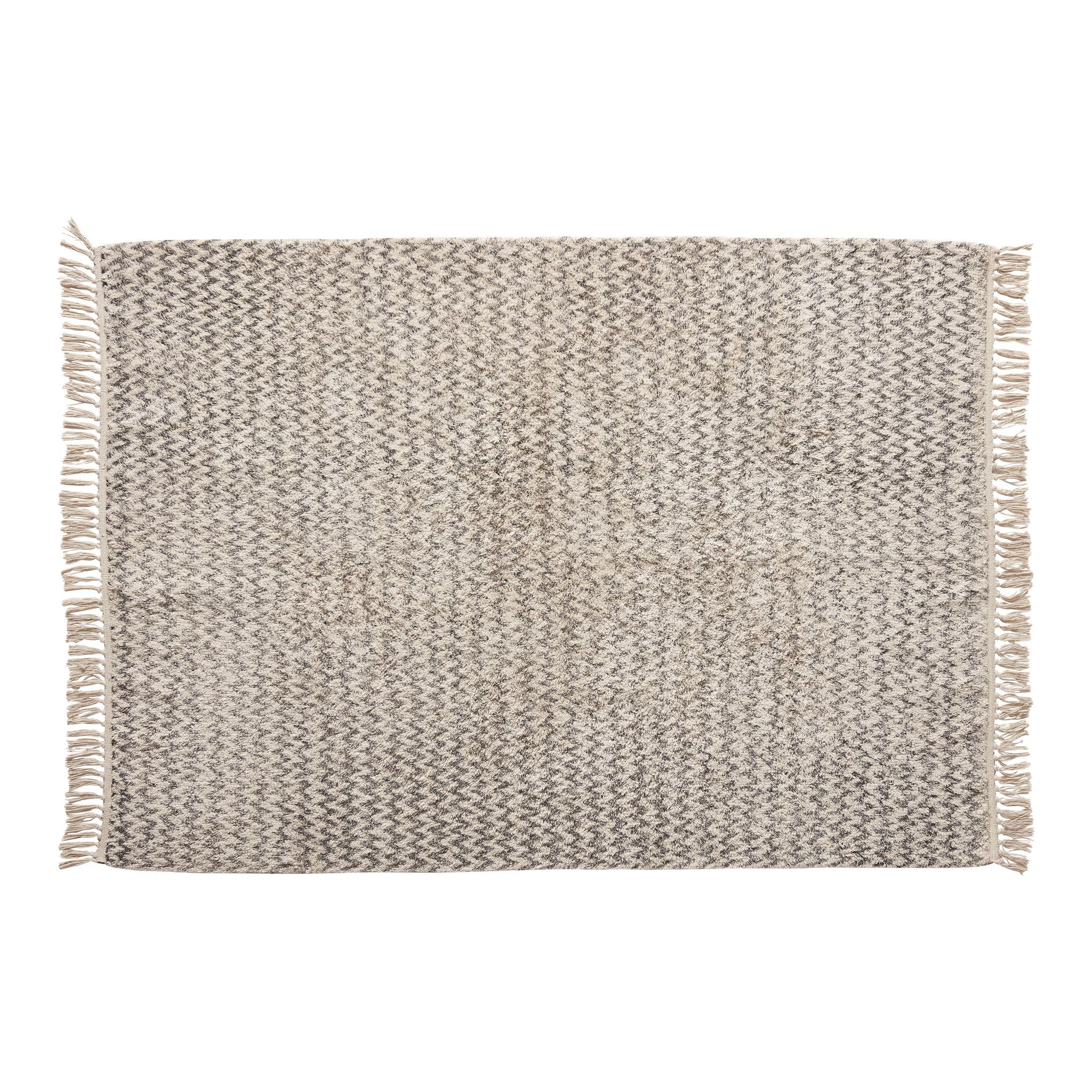 Hubsch Vloerkleed, geweven, katoen, wit / grijs-810602-5712772064054