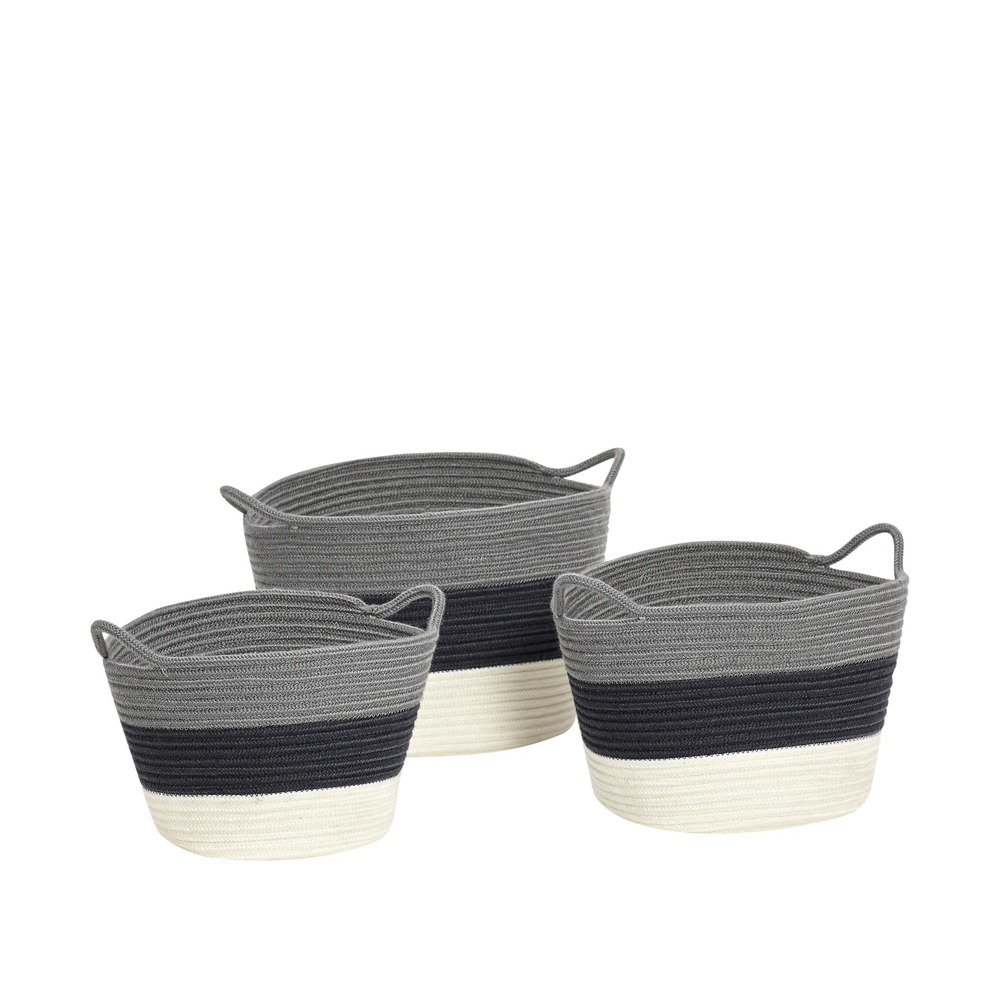 Hubsch Mand, gebreid, grijset van marineblauw / wit, set van 3-849001-5712772044230