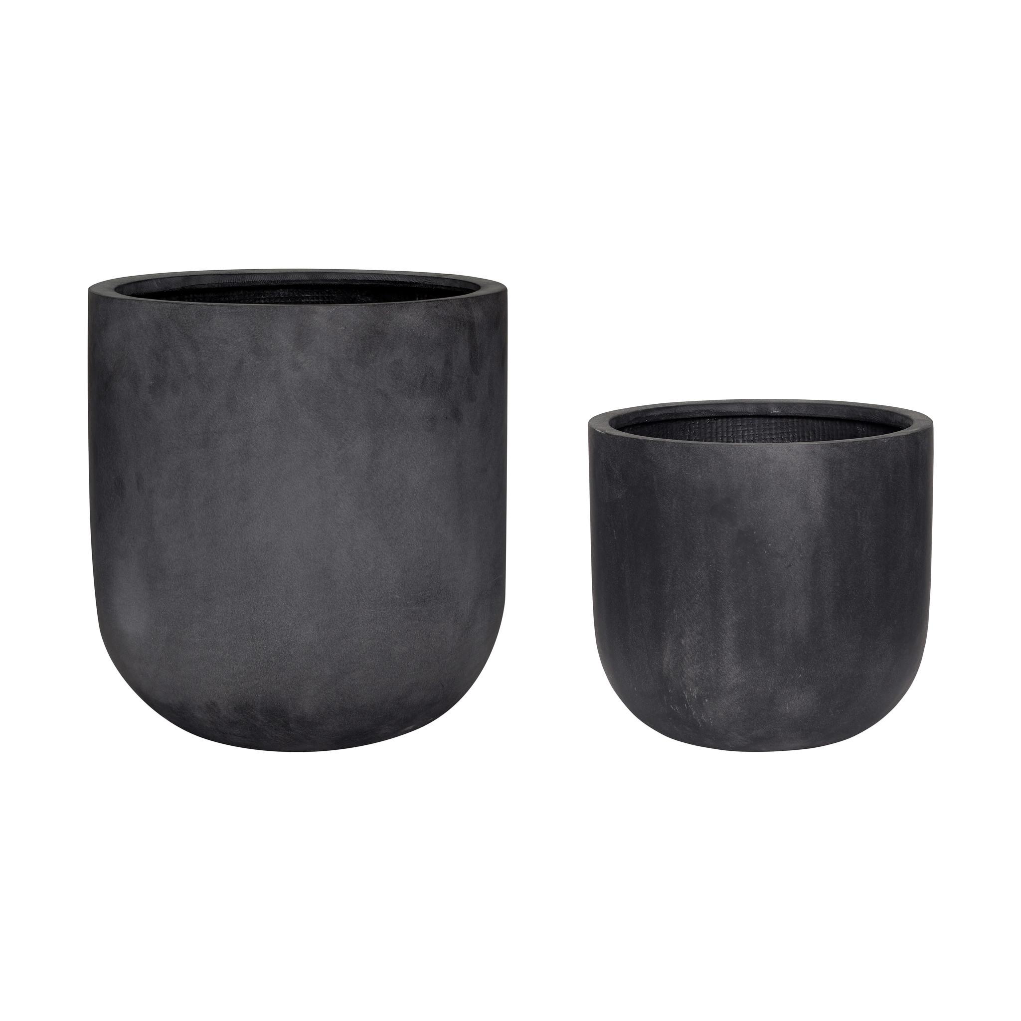 Hubsch Pot, vezelsteen, zwart, set van 2