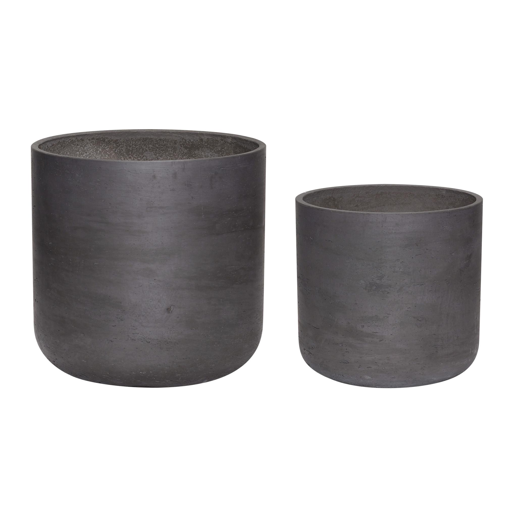 Hubsch Pot met gat, cement, zwart, set van 2