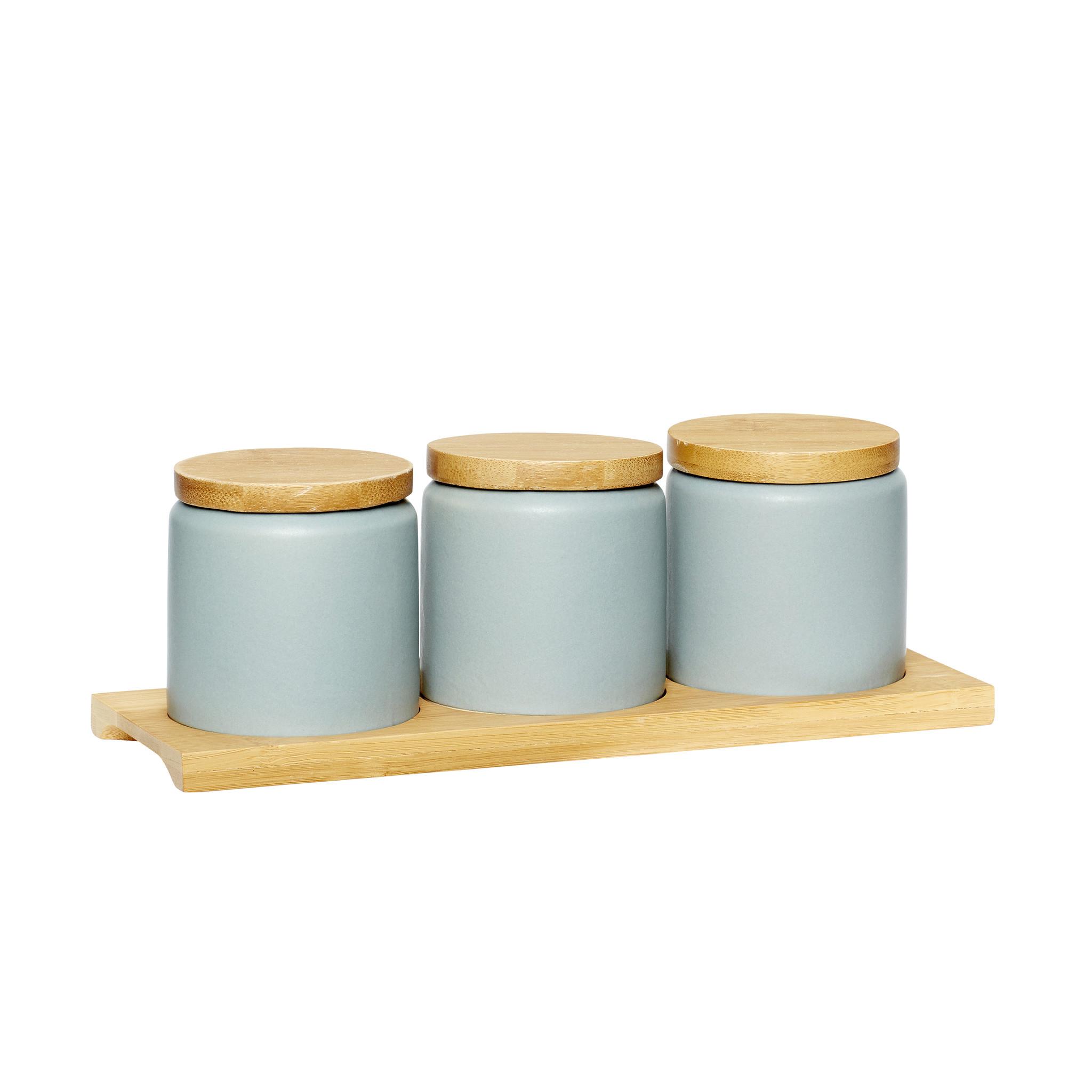 Hubsch Pot met deksel en dienblad, keramiek / hout, grijset van natuur, set van 3-860201-5712772065600