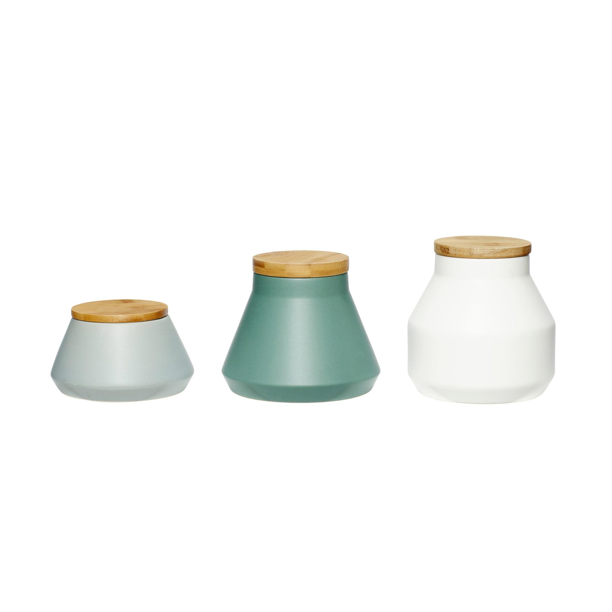 Hubsch Pot met deksel, keramiek / hout, grijset van wit / groen, set van 3
