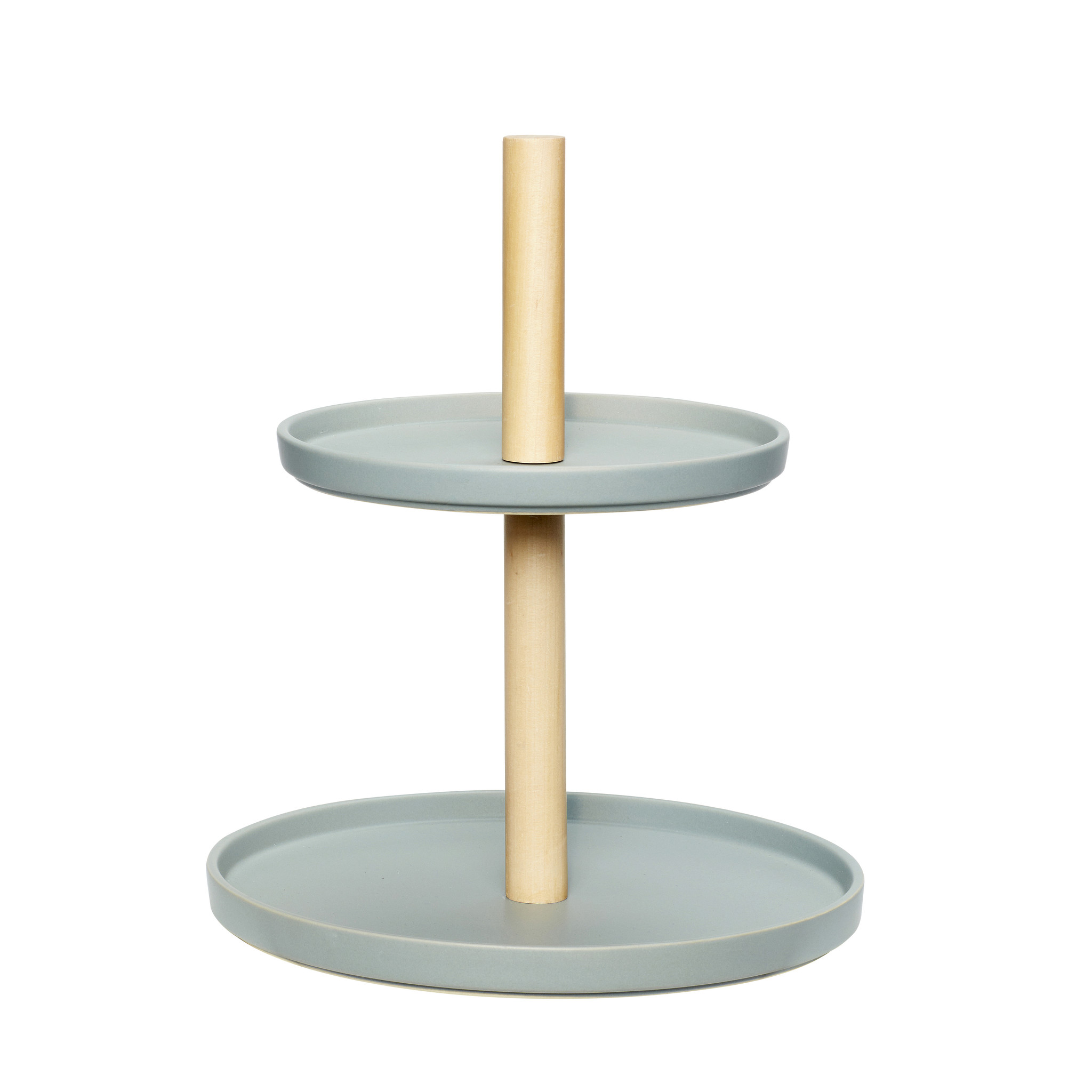 Hubsch Etagere met 2 borden, keramiek / hout, grijset van natuur-860211-5712772051009