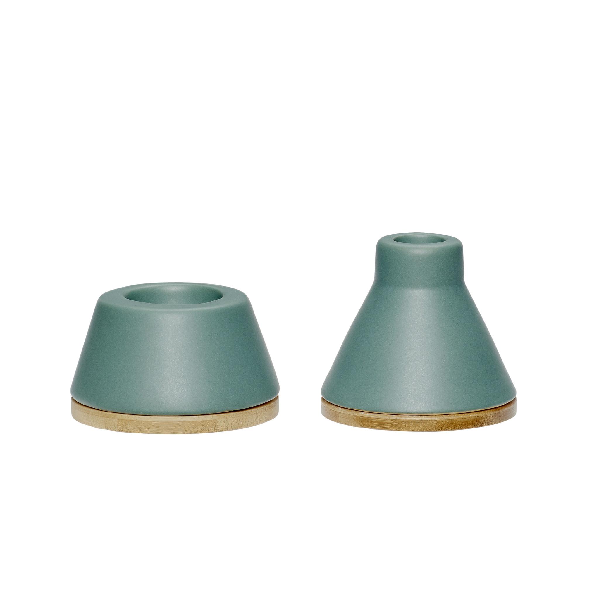Hubsch Waxinelichthouder / Kandelaar, keramiek / hout, groen / natuur, set van 2-860220-5712772051016