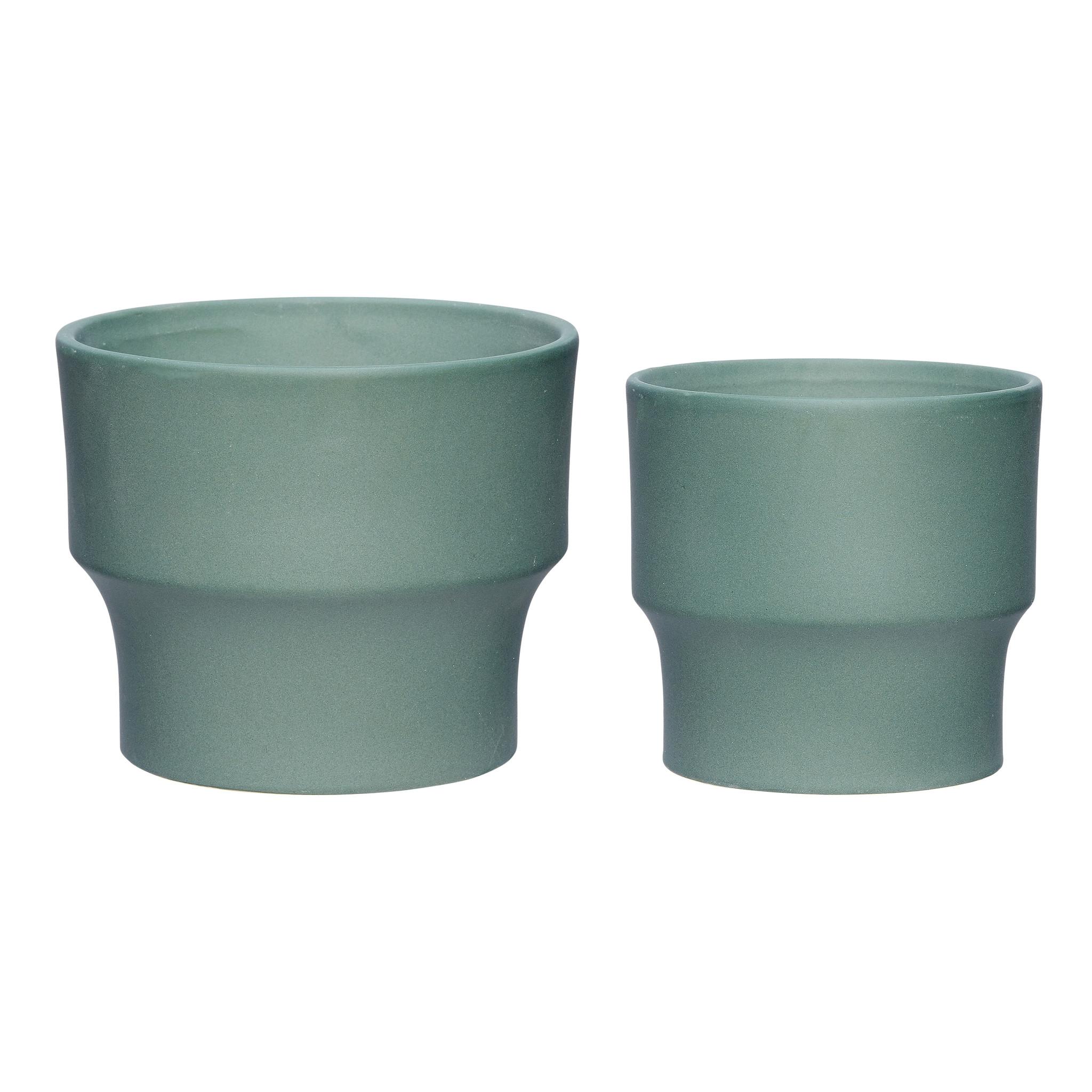 Hubsch Pot, romig, groen, set van 2