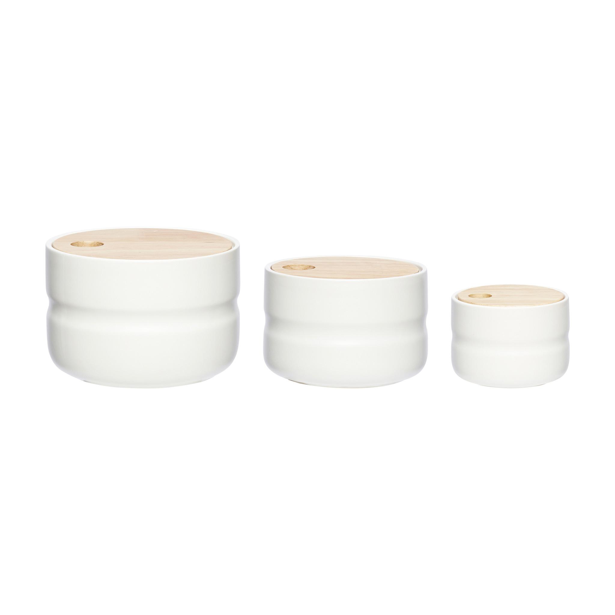 Hubsch Pot met deksel, keramiek, wit / natuur, set van 3