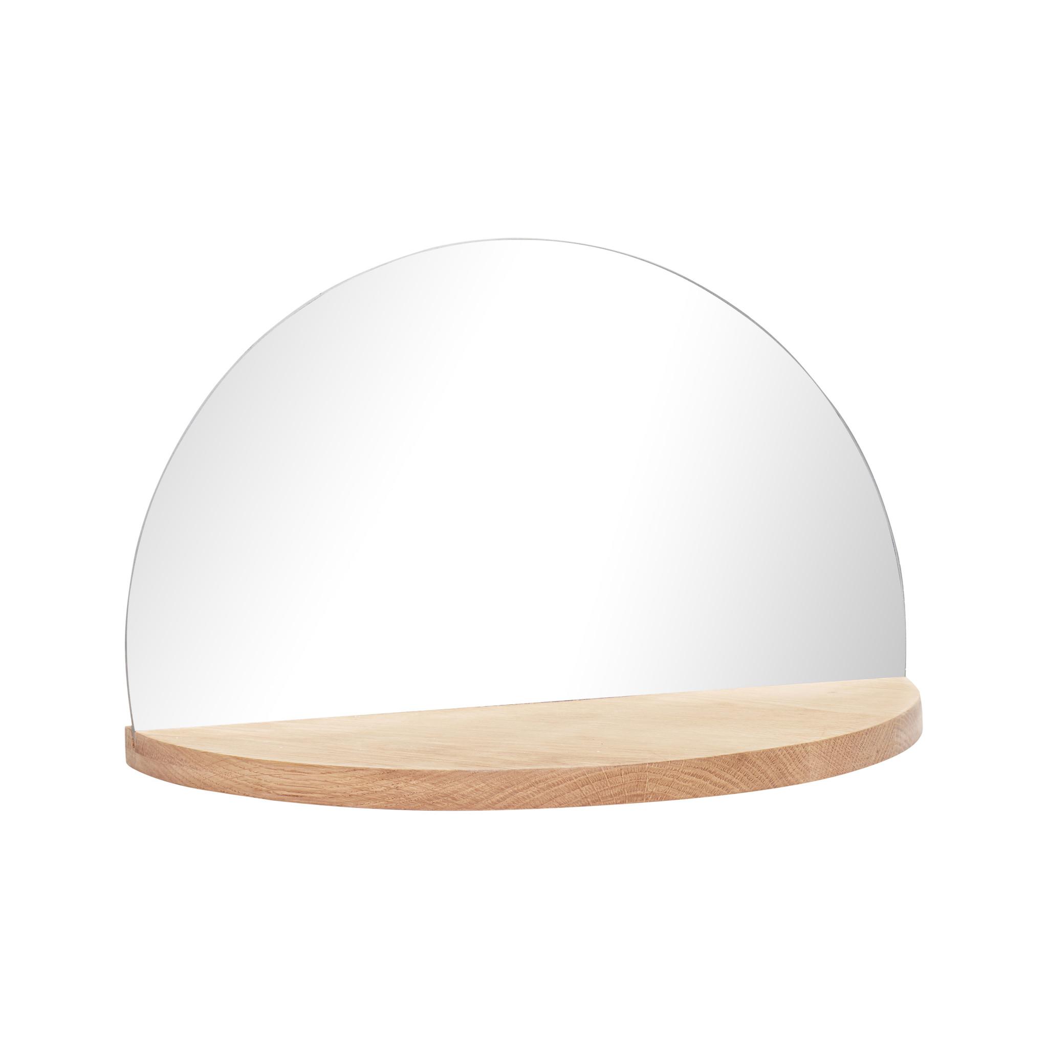 Hubsch Plank met spiegel, rond, natuur-880402-5712772055496
