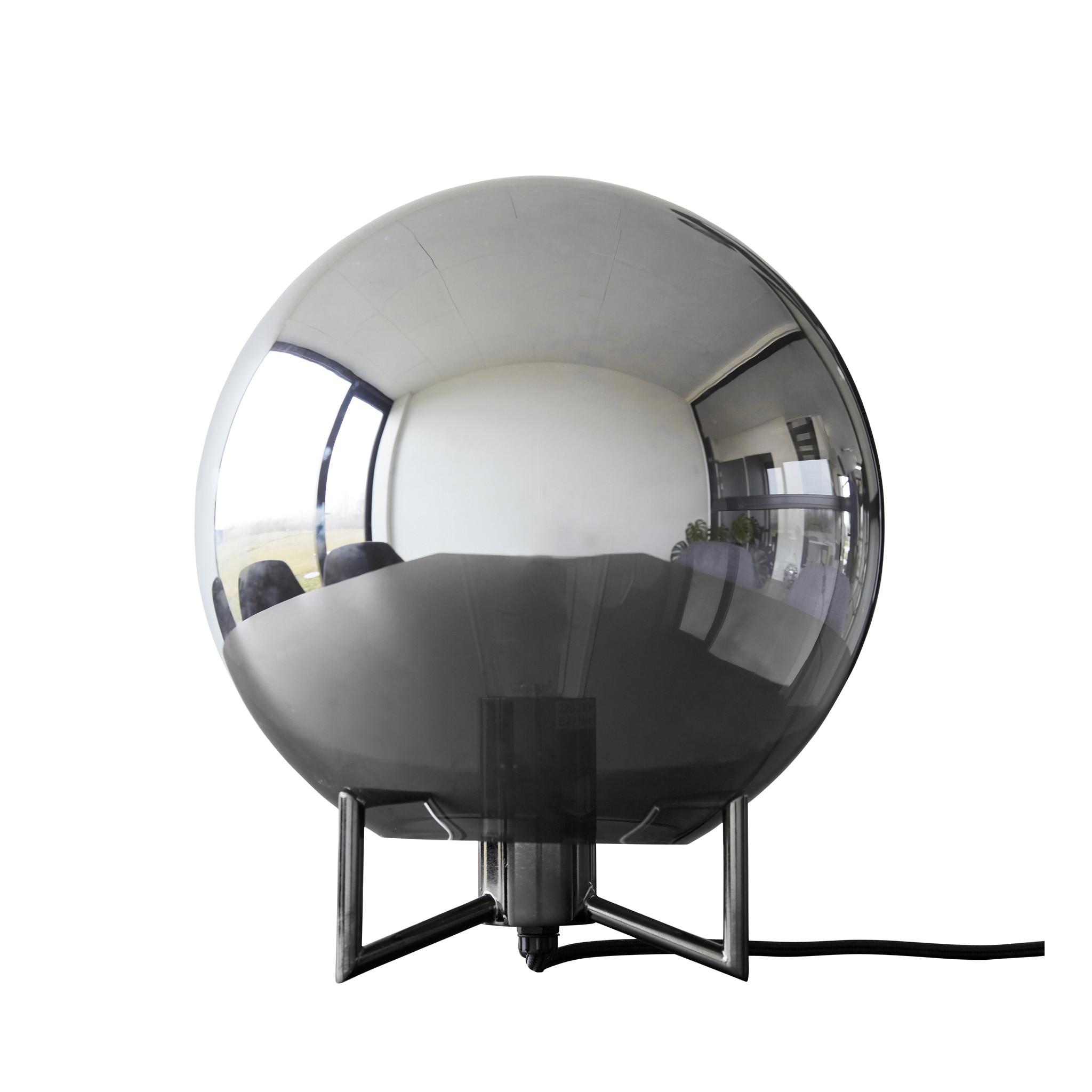 Hubsch Tafellamp, metaal / glas, gerookt / grijs