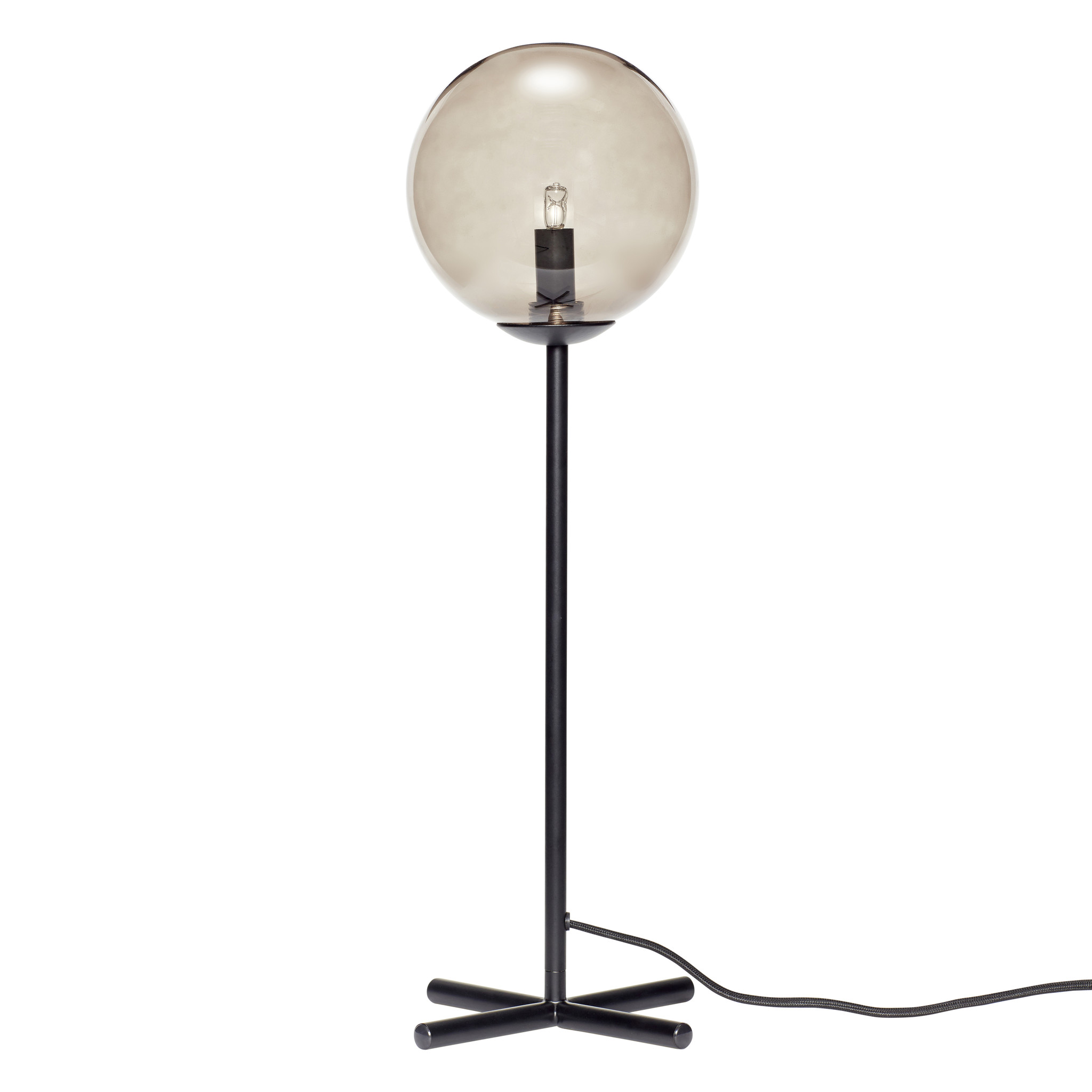 Hubsch Tafellamp met lamp, metaal, zwart / gerookt-890704-5712772066096