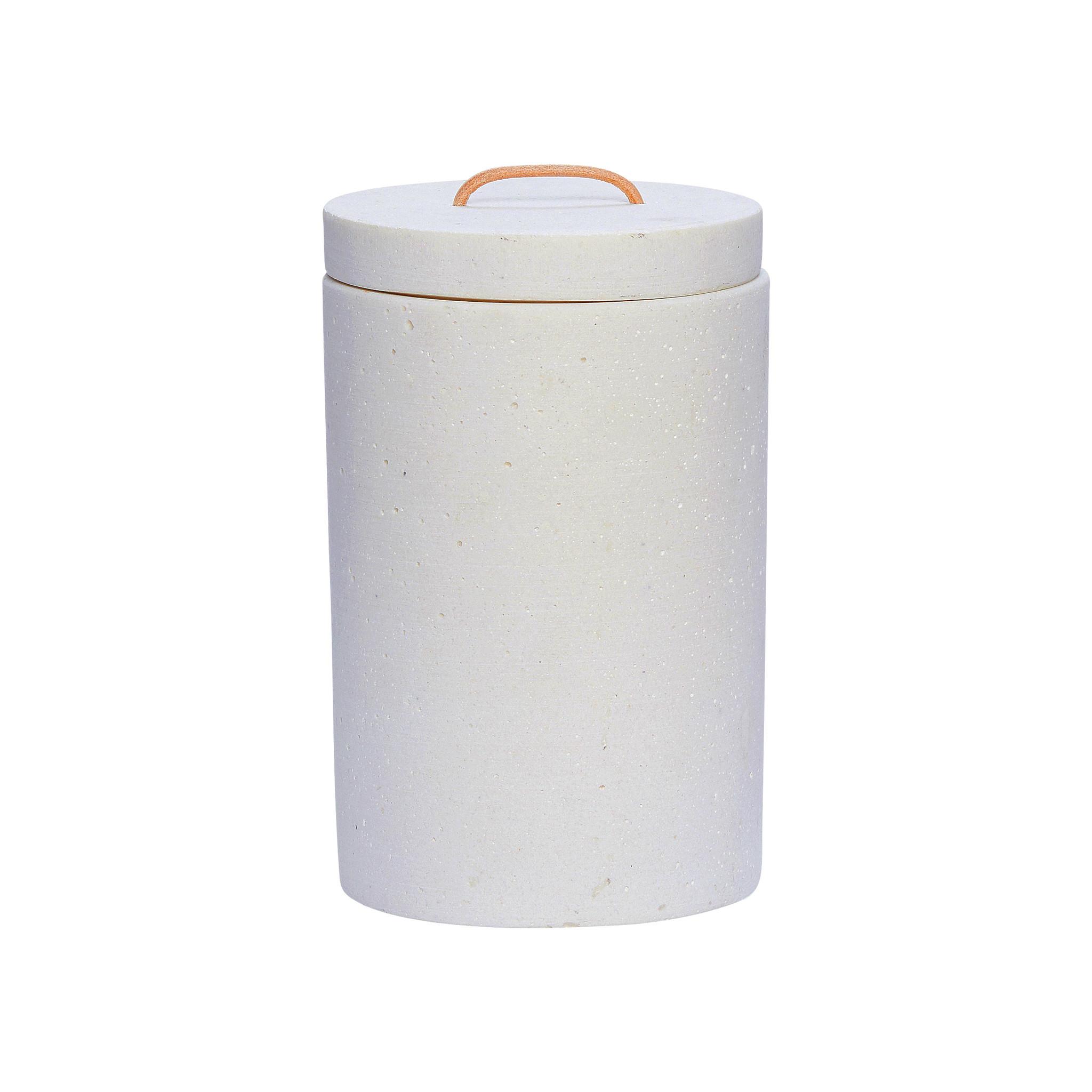 Hubsch Pot met deksel, wit, groot