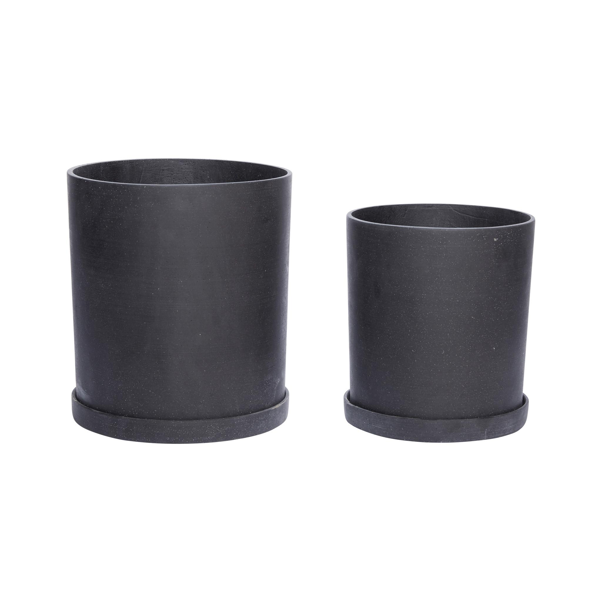 Hubsch Pot, zwart, set van 2