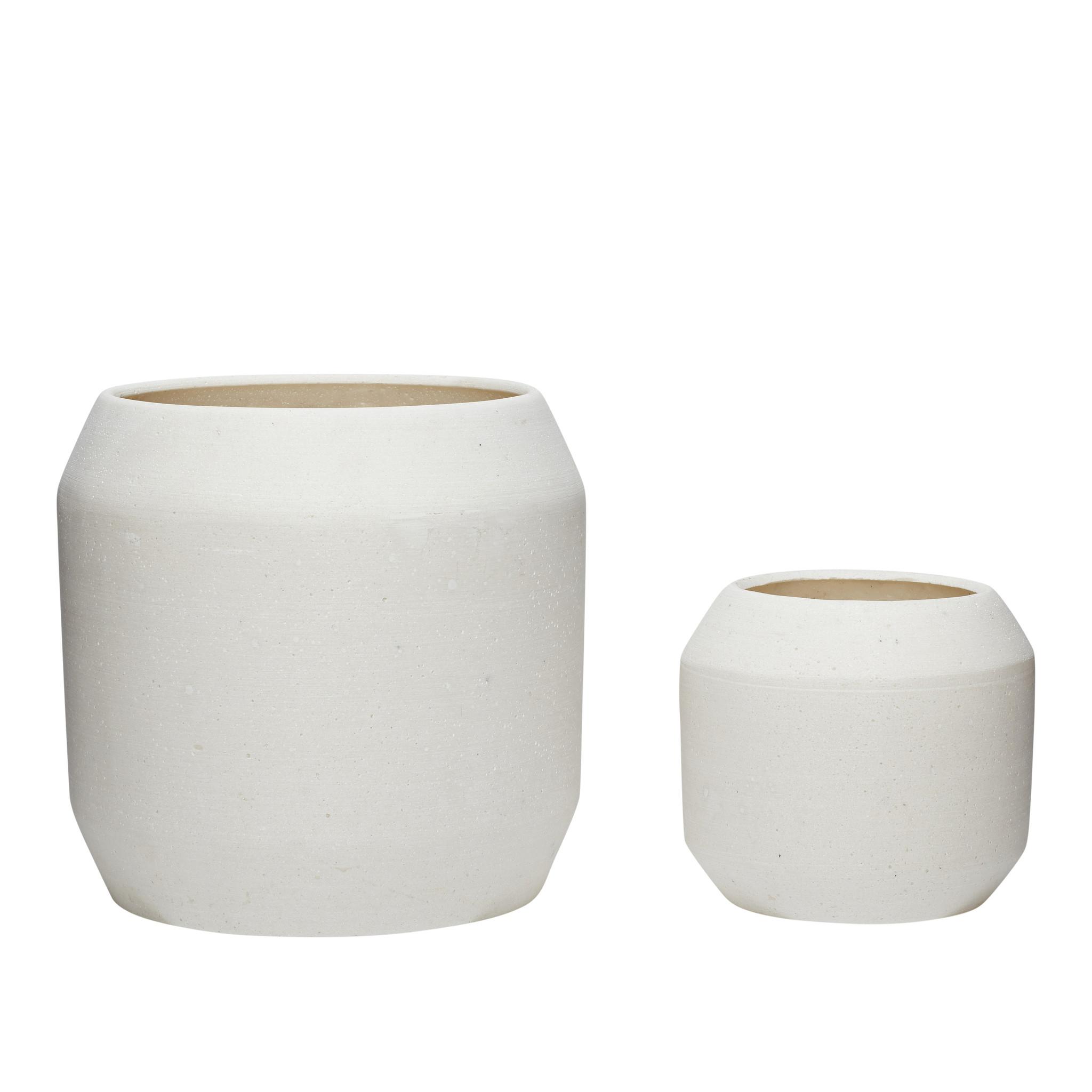 Hubsch Pot, keramiek, wit, set van 2-900502-5712772056349
