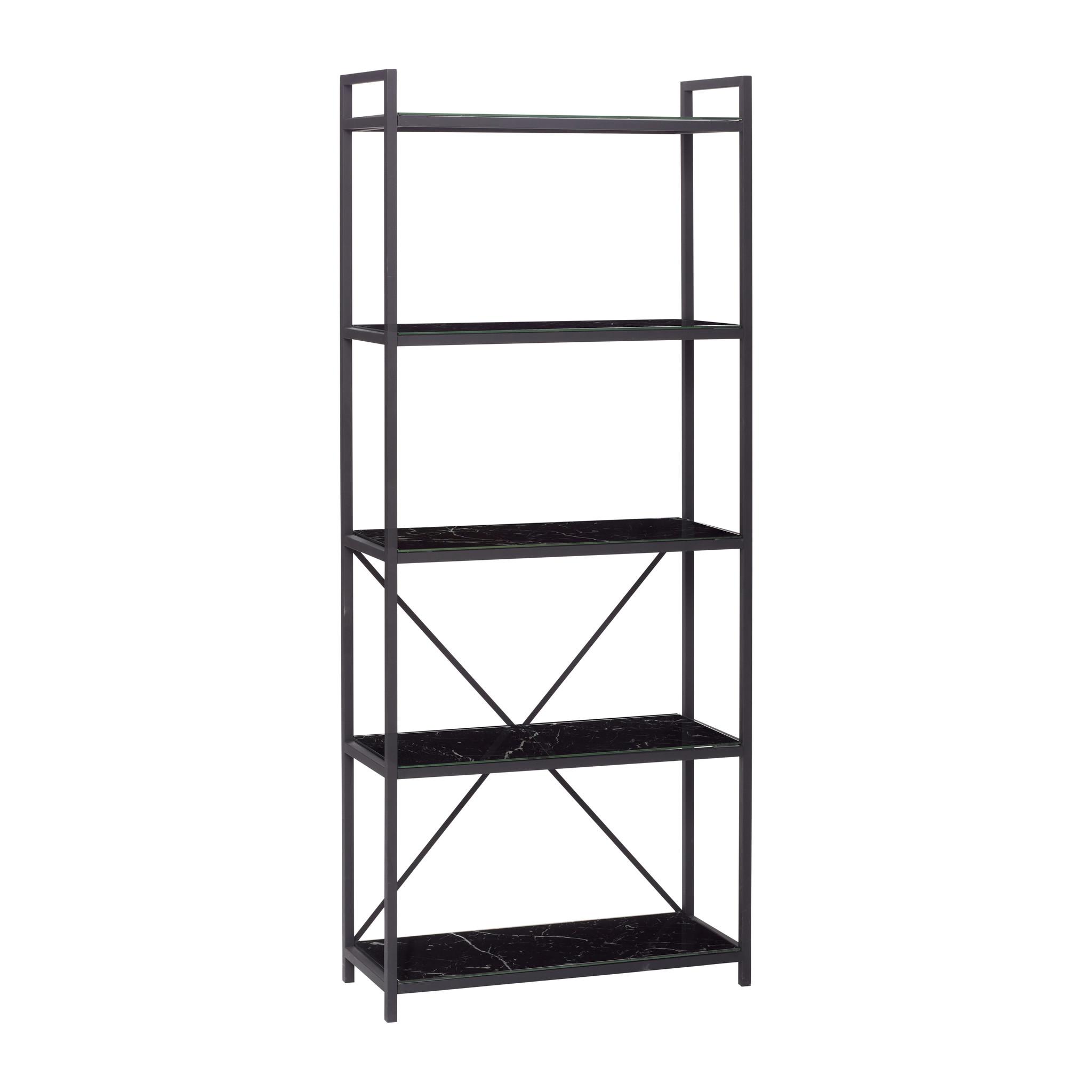 Hubsch Plank met 5 planken, metaal / glas, zwart-930401-5712772045404