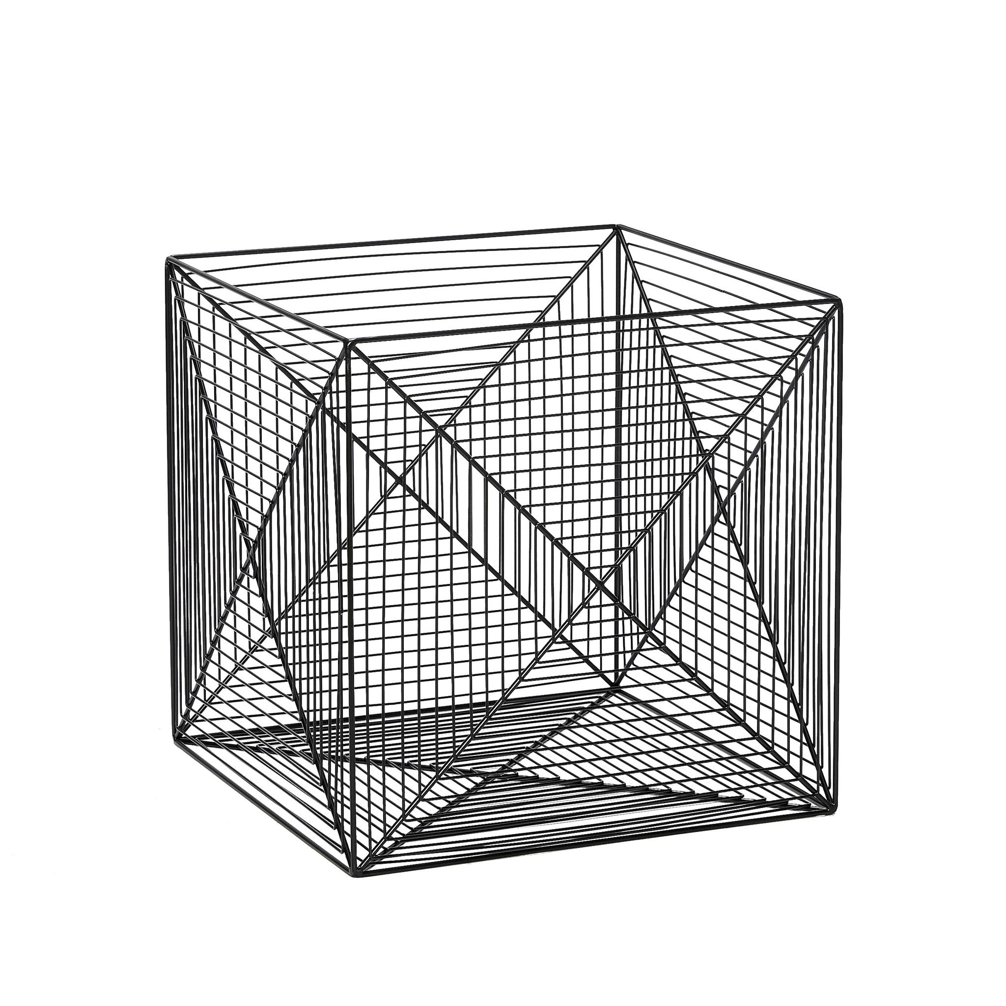 Hubsch Mand, vierkant fil-de-fer, metaal, zwart, set van 2