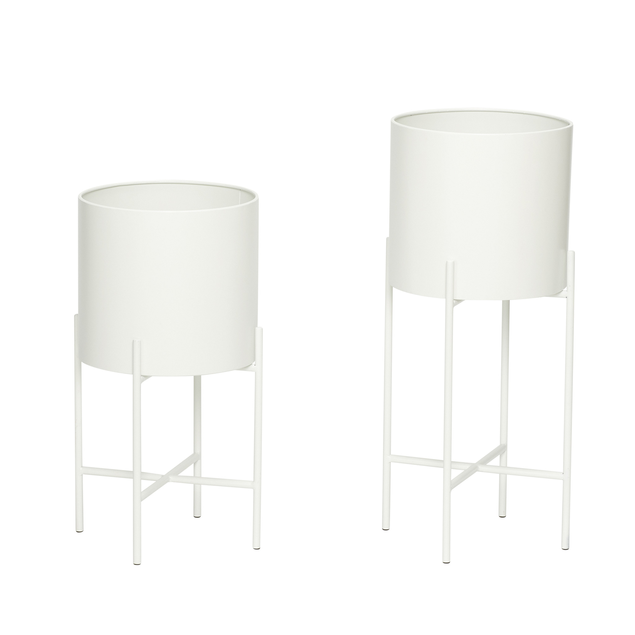Hubsch Pot met poot, metaal, wit, set van 2-940512-5712772062913