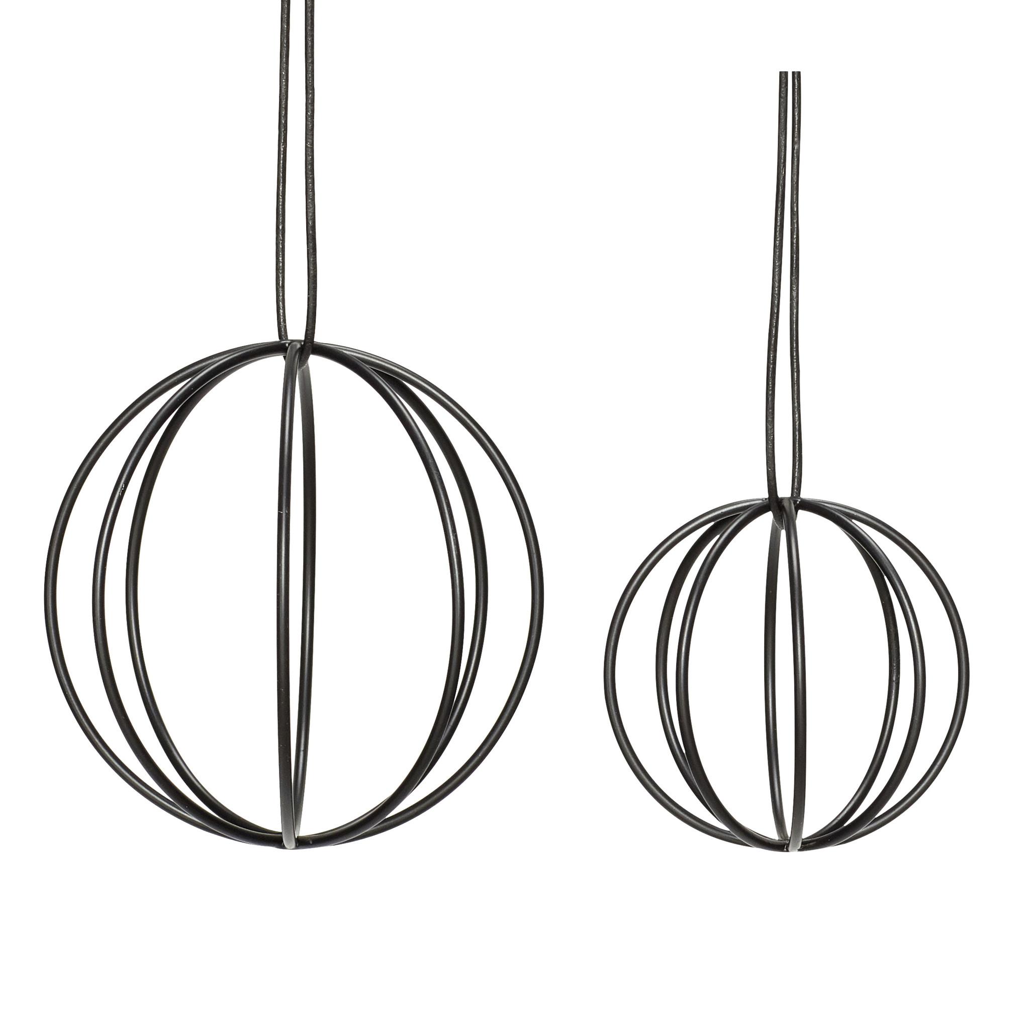 Hubsch Bal met draad, metaal, zwart, set van 2-940513-5712772062920