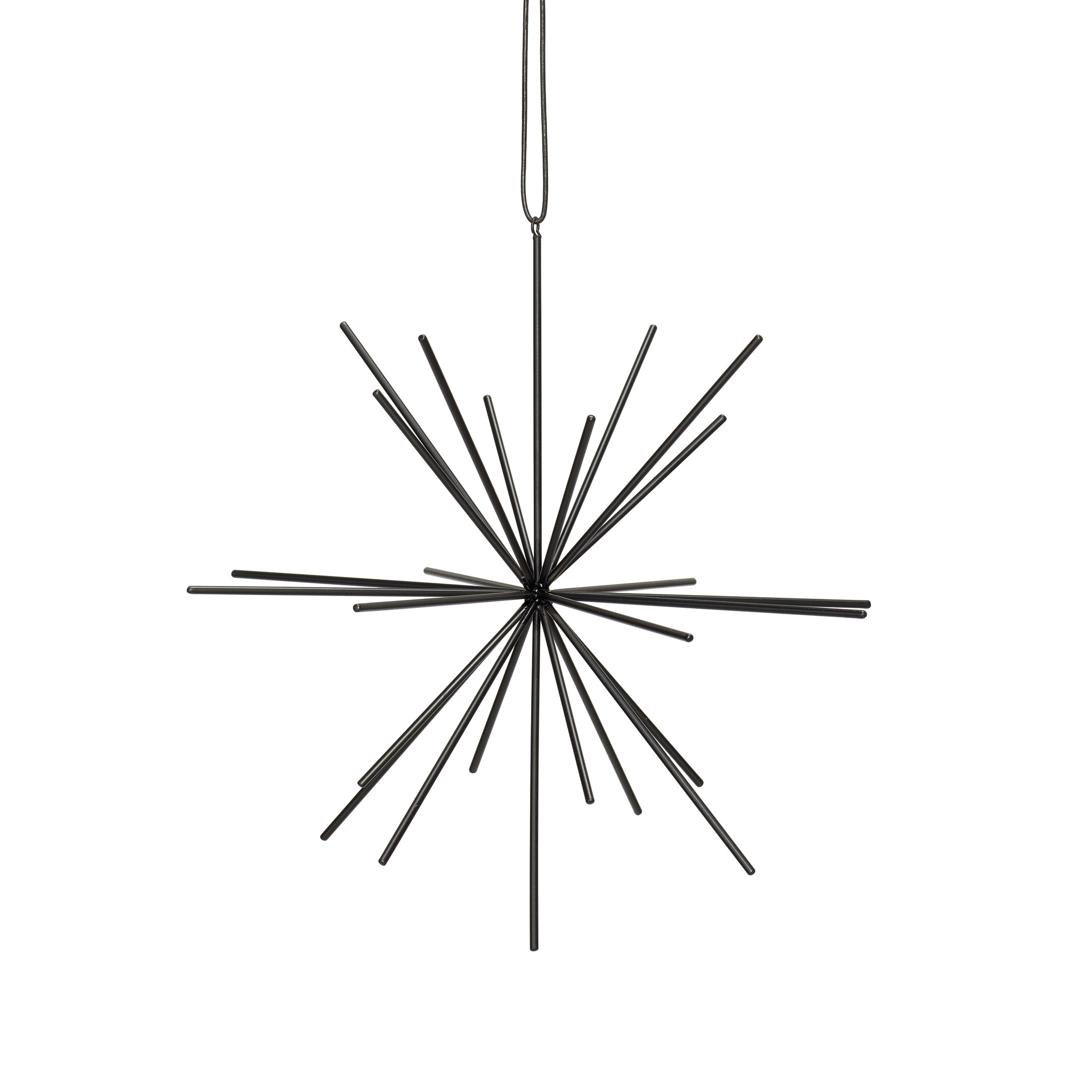 Hubsch Ster met lederen band, metaal, zwart, groot-940517-5712772062975