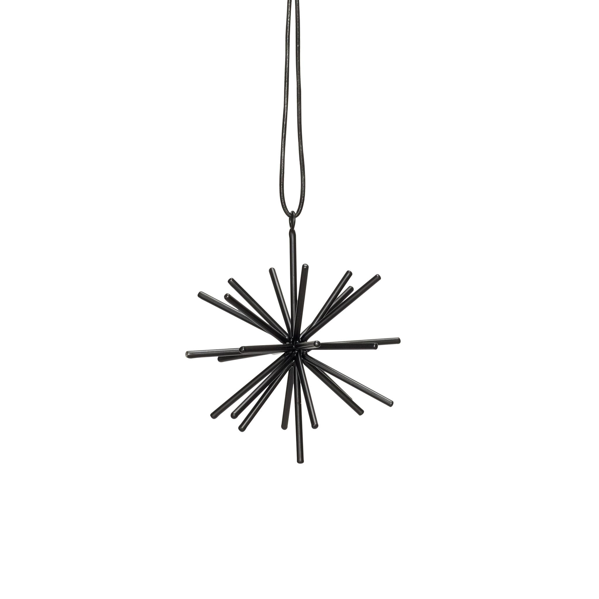 Hubsch Ster met lederen band, metaal, zwart, klein