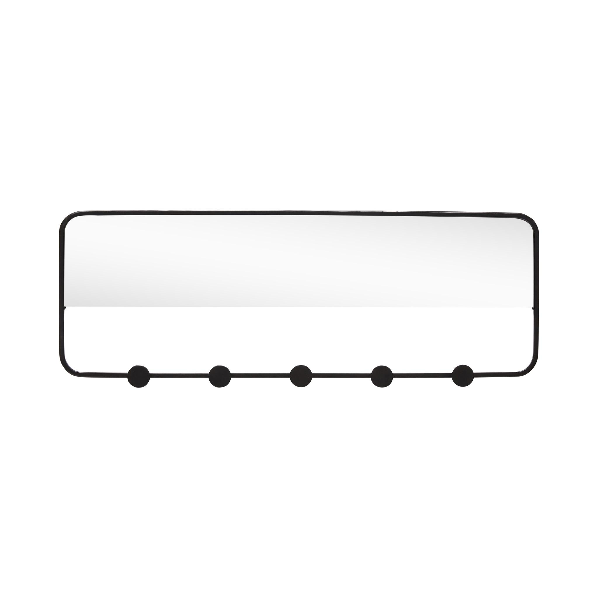 Hubsch Kapstok met spiegel, 5 haken, metaal, zwart-940620-5712772063521