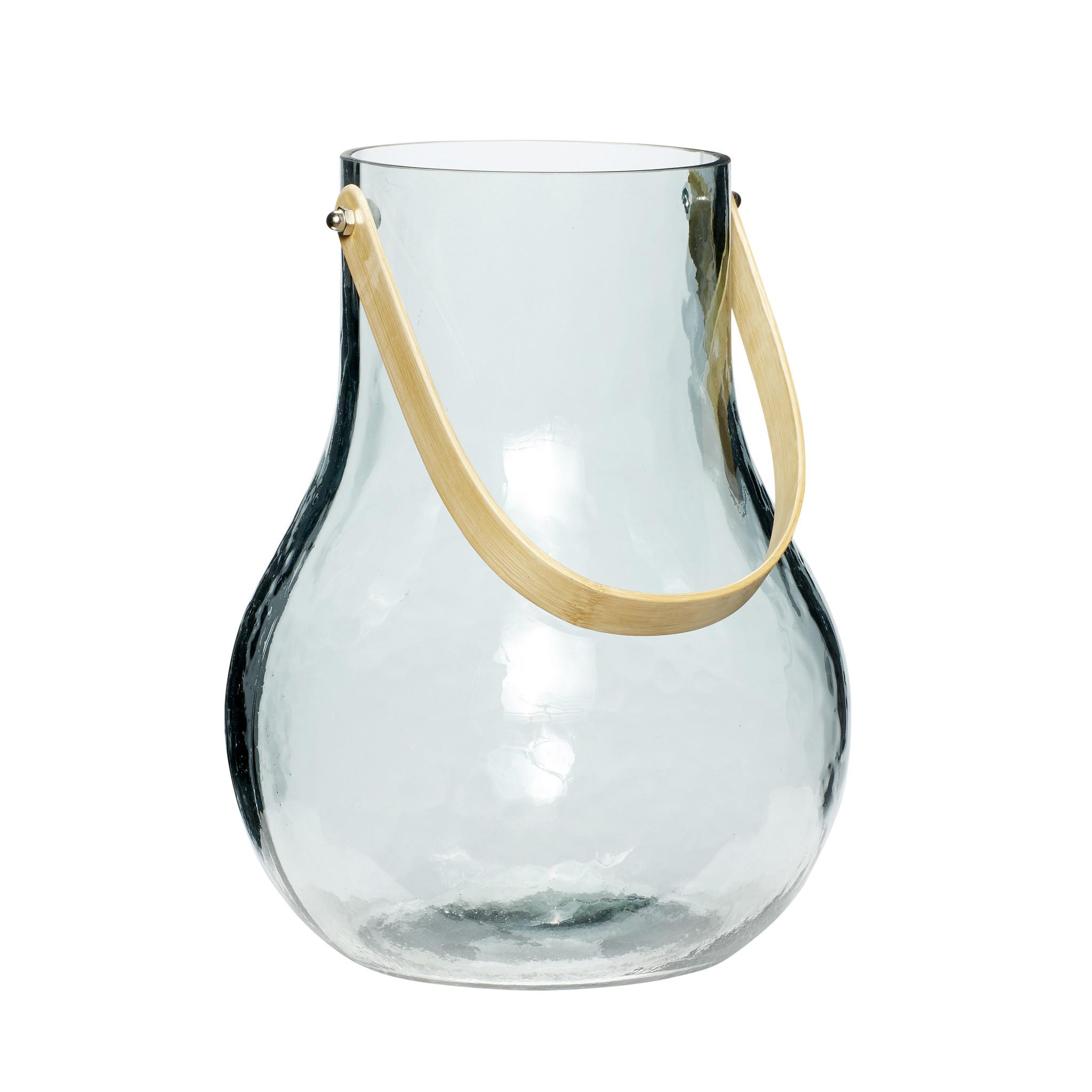 Hubsch Vaas met handvat, glaset van bamboe, blauw-950202-5712772053812