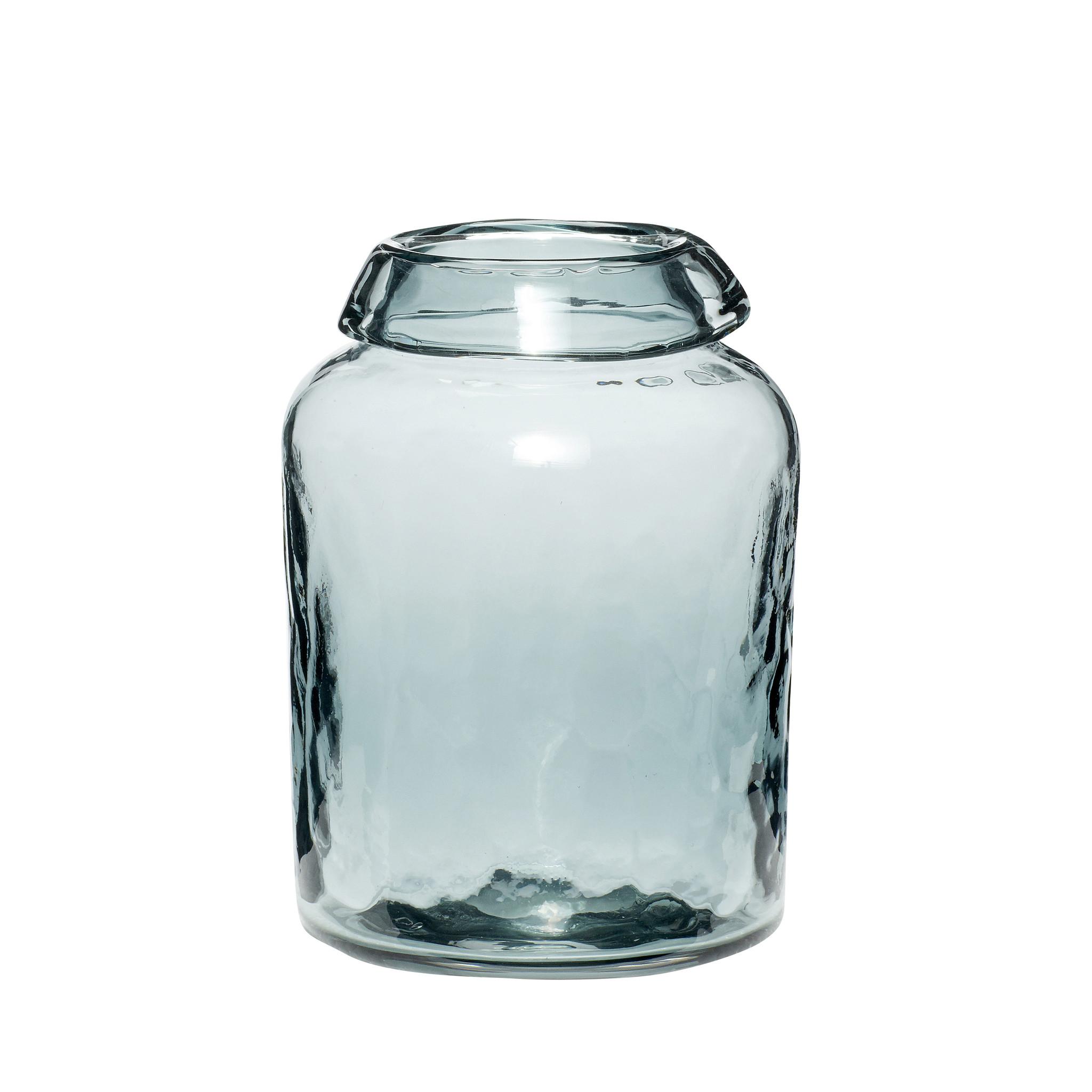 Hubsch Vaas, glas, blauw, klein