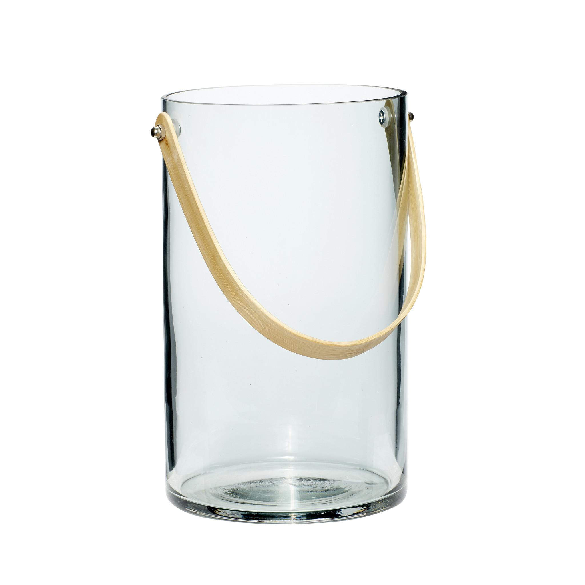 Hubsch Vaas met handvat, glaset van bamboe, blauw-950212-5712772053843