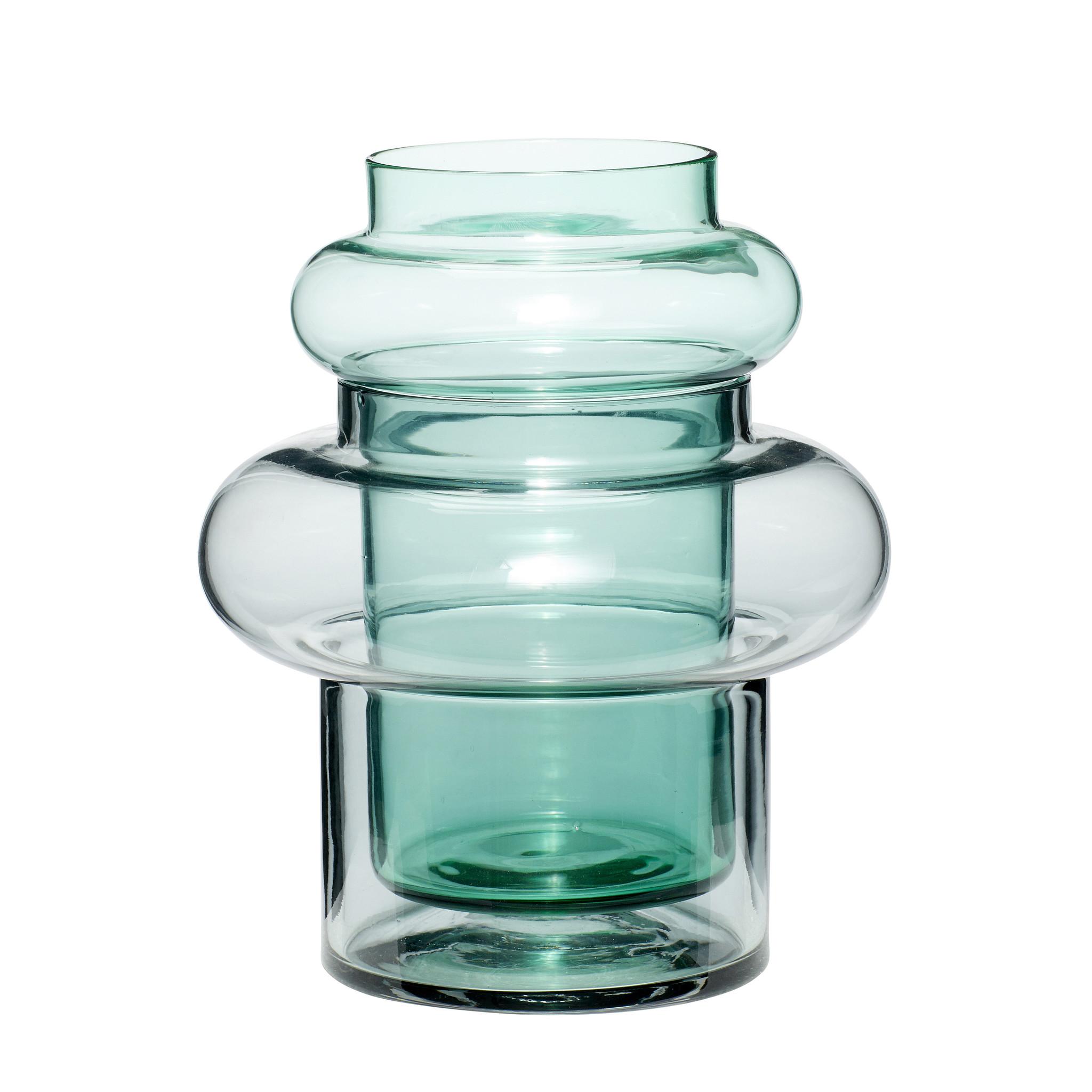 Hubsch Vaas, glas, groen / gerookt