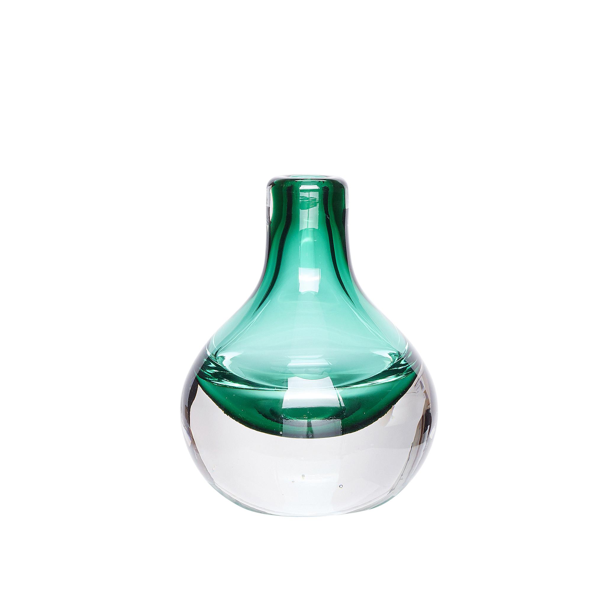 Hubsch Vaas, glas, helder / groen-950301-5712772055106